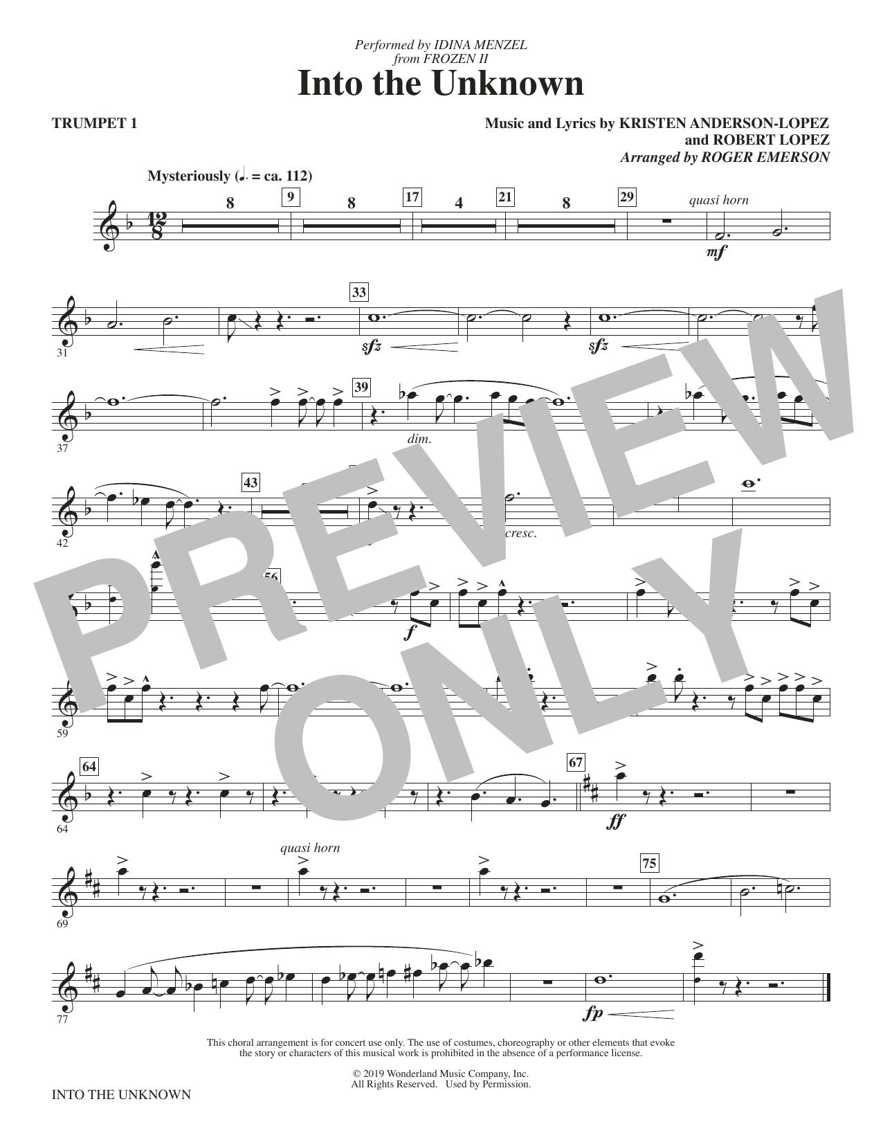 Into The Unknown (from Disney's Frozen 2) (arr. Roger Emerson) - Trumpet 1 (Choir Instrumental Pak)