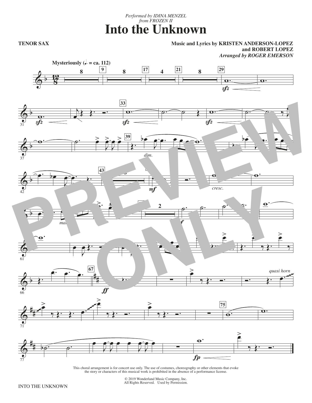 Into The Unknown (from Disney's Frozen 2) (arr. Roger Emerson) - Tenor Saxophone (Choir Instrumental Pak)