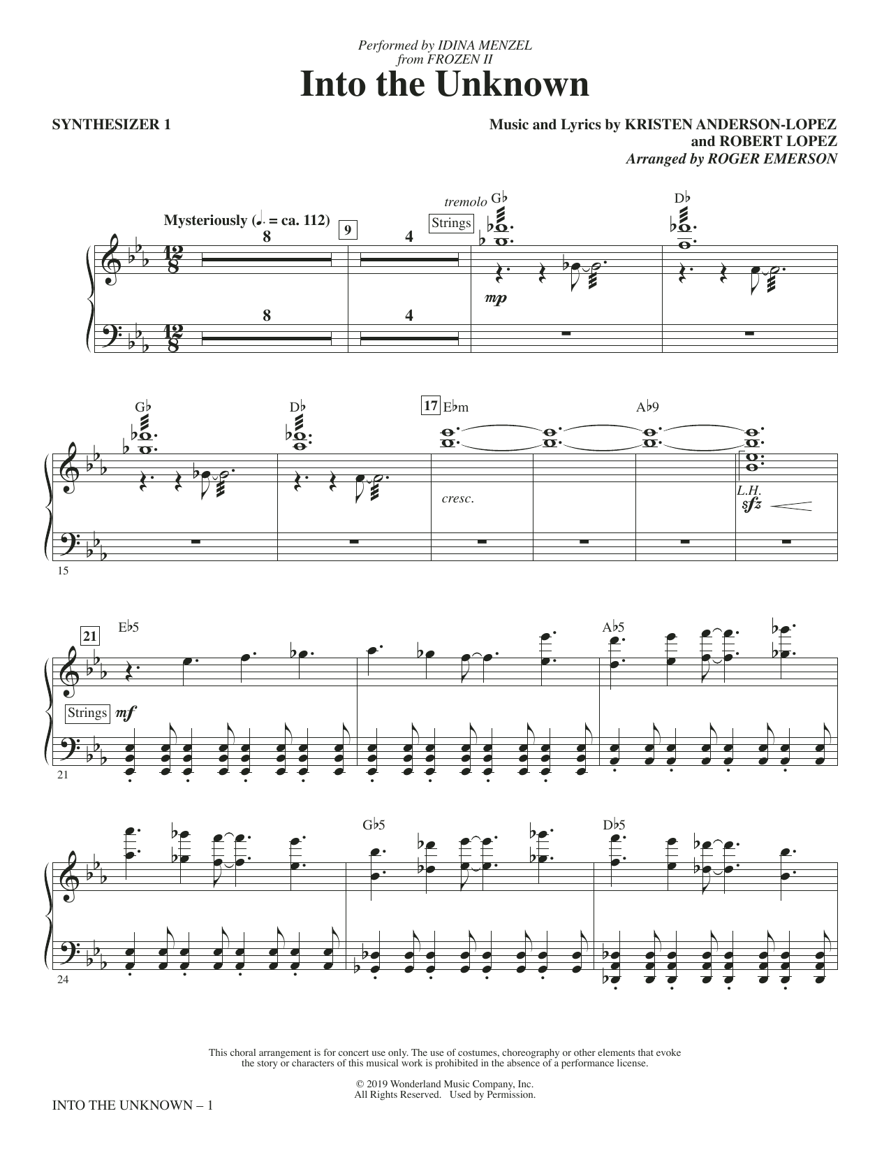Into The Unknown (from Disney's Frozen 2) (arr. Roger Emerson) - Synthesizer I (Choir Instrumental Pak)