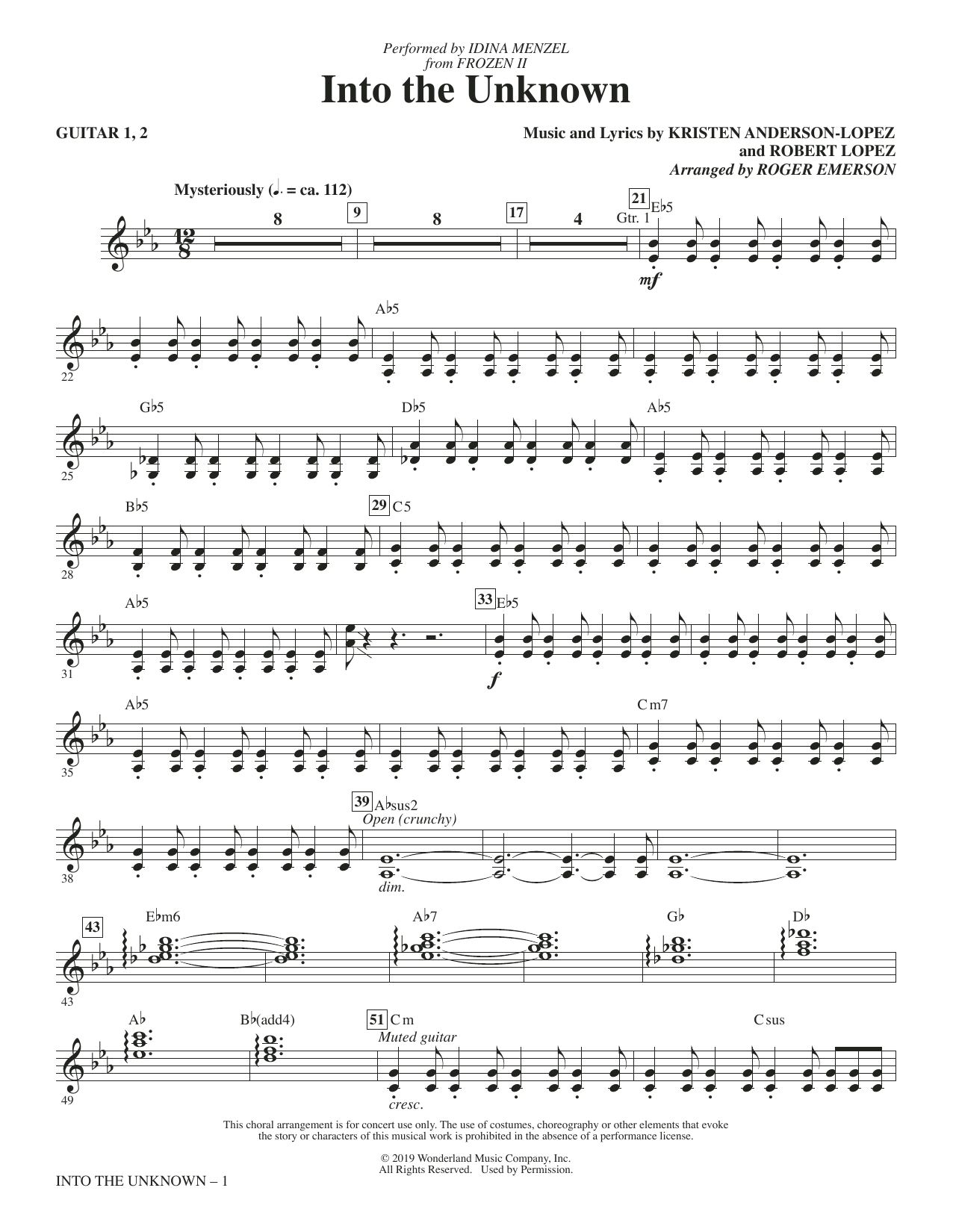 Into The Unknown (from Disney's Frozen 2) (arr. Roger Emerson) - Guitar (Choir Instrumental Pak)
