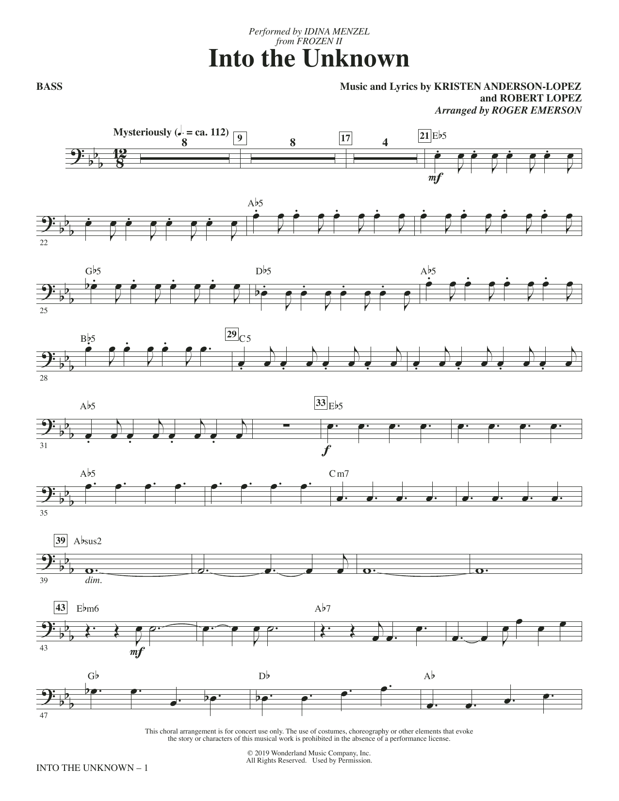 Into The Unknown (from Disney's Frozen 2) (arr. Roger Emerson) - Bass (Choir Instrumental Pak)
