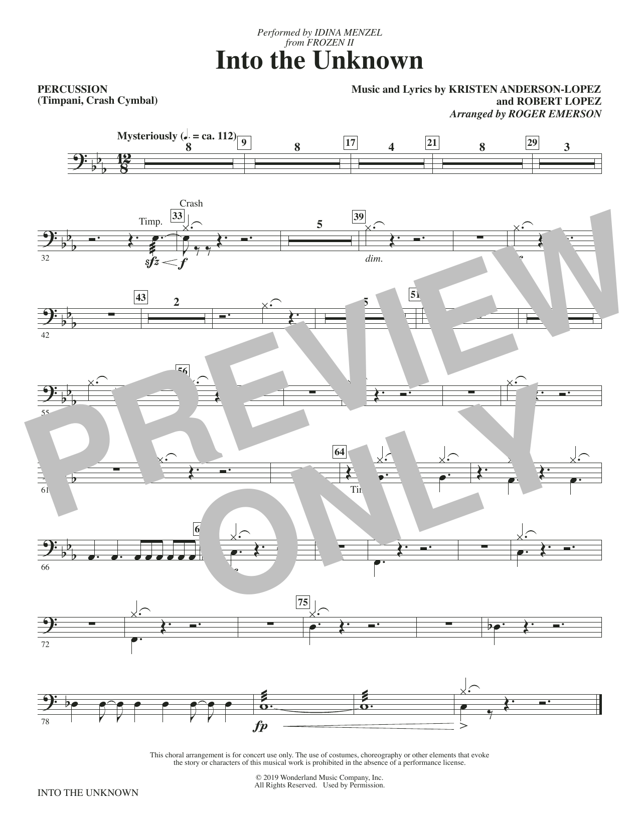 Into The Unknown (from Disney's Frozen 2) (arr. Roger Emerson) - Percussion (Choir Instrumental Pak)