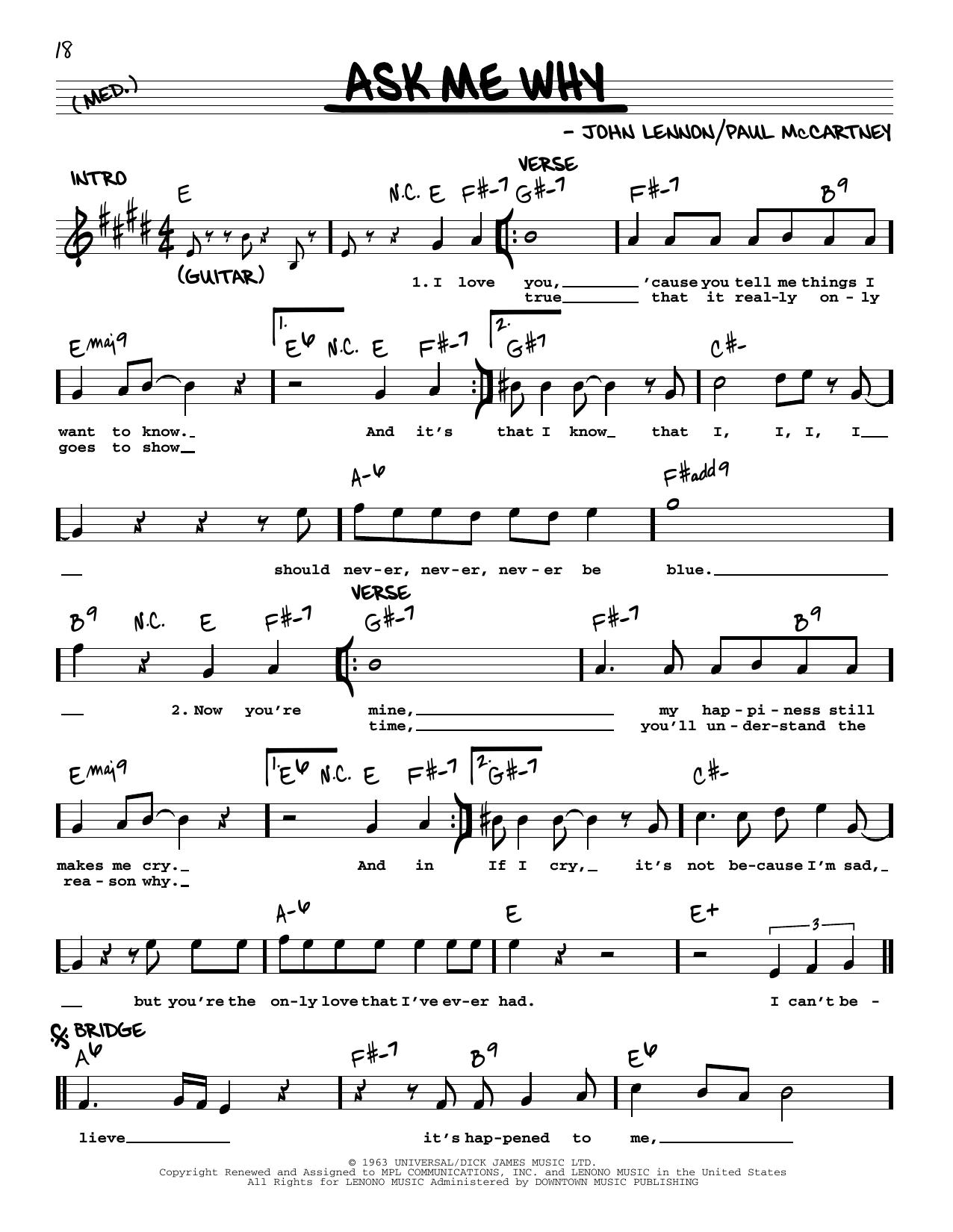 Ask Me Why [Jazz version] (Real Book – Melody, Lyrics & Chords)
