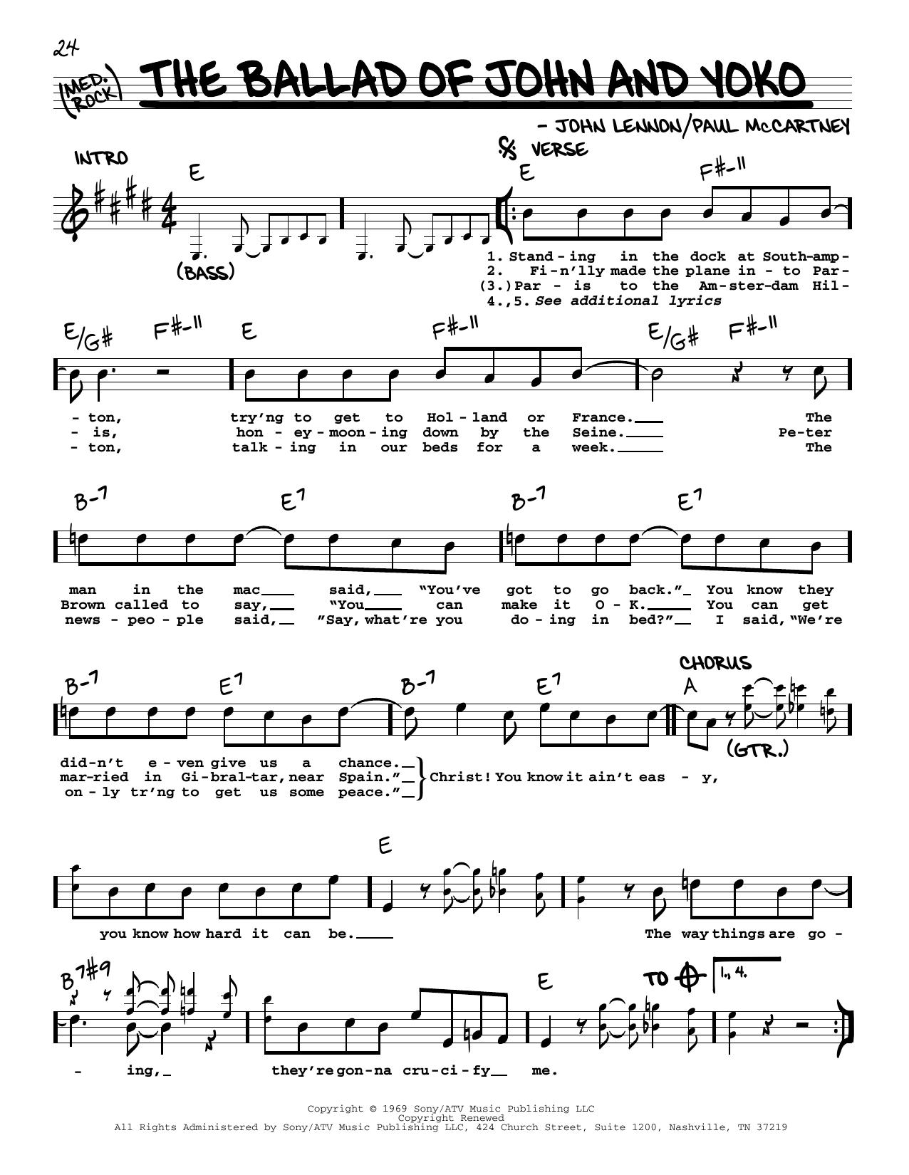 The Ballad Of John And Yoko [Jazz version] (Real Book – Melody, Lyrics & Chords)