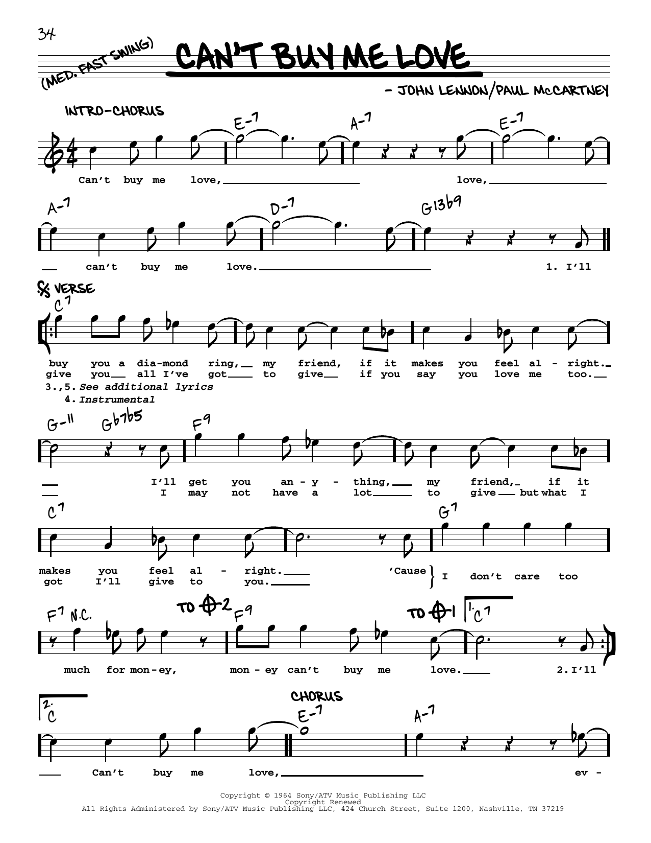 Can't Buy Me Love [Jazz version] (Real Book – Melody, Lyrics & Chords)