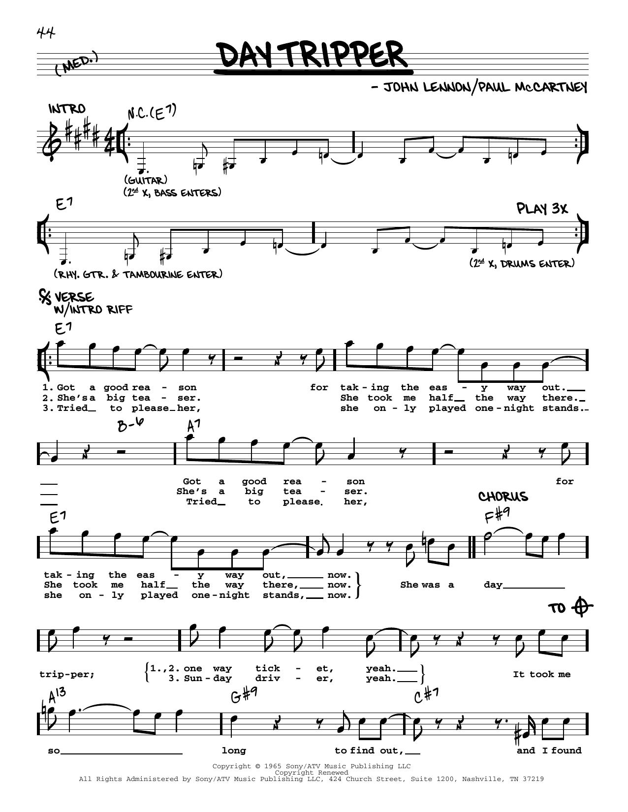 Day Tripper [Jazz version] (Real Book – Melody, Lyrics & Chords)