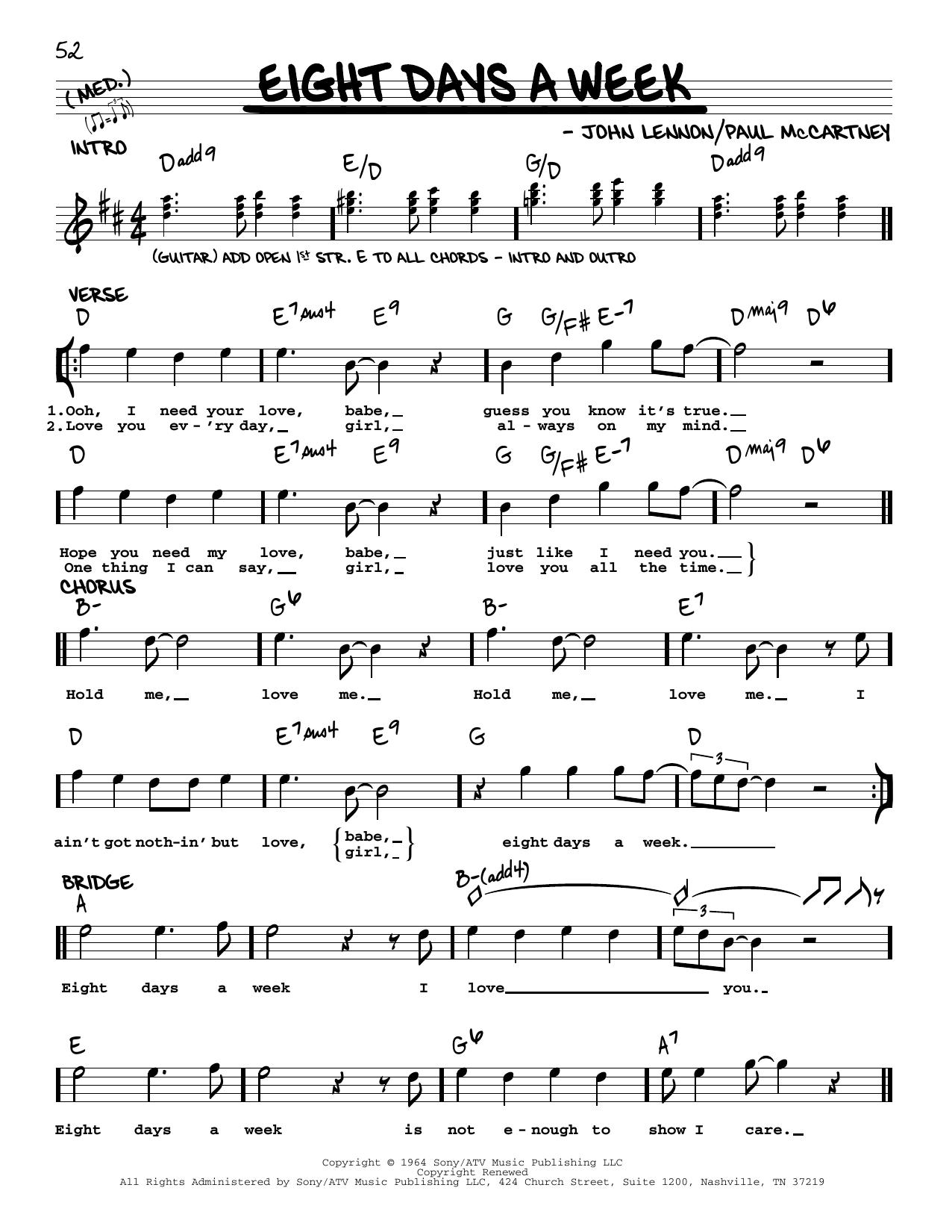 Eight Days A Week [Jazz version] (Real Book – Melody, Lyrics & Chords)