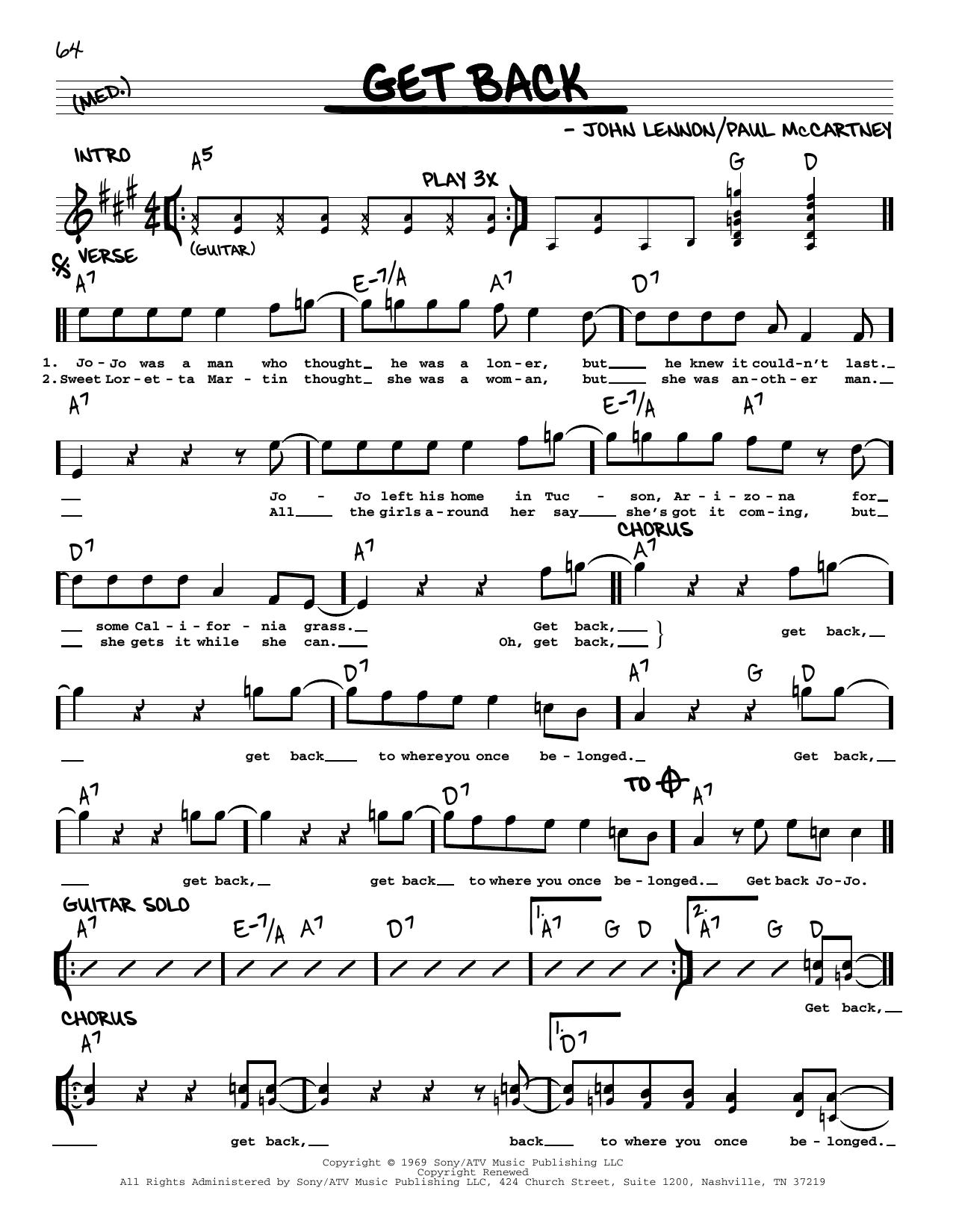 Get Back [Jazz version] (Real Book – Melody, Lyrics & Chords)