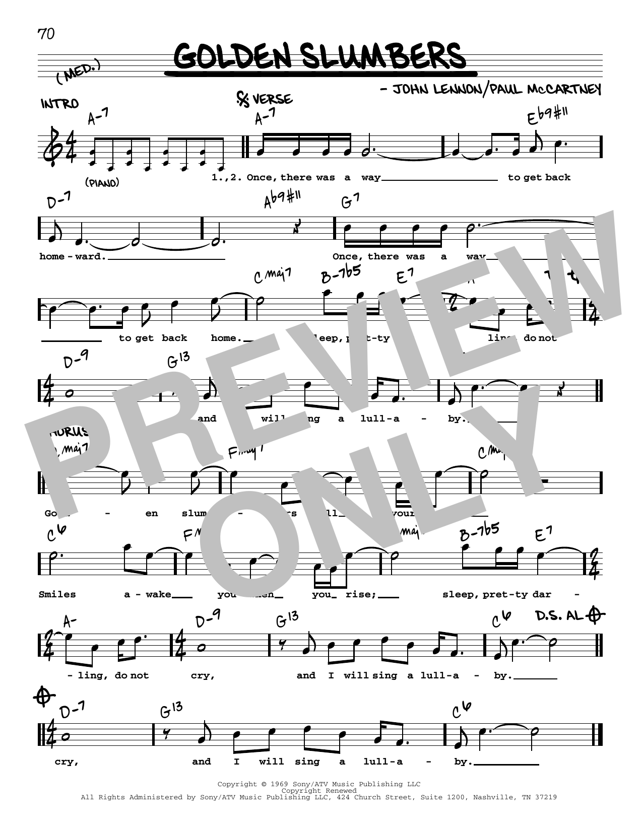 Golden Slumbers [Jazz version] (Real Book – Melody, Lyrics & Chords)