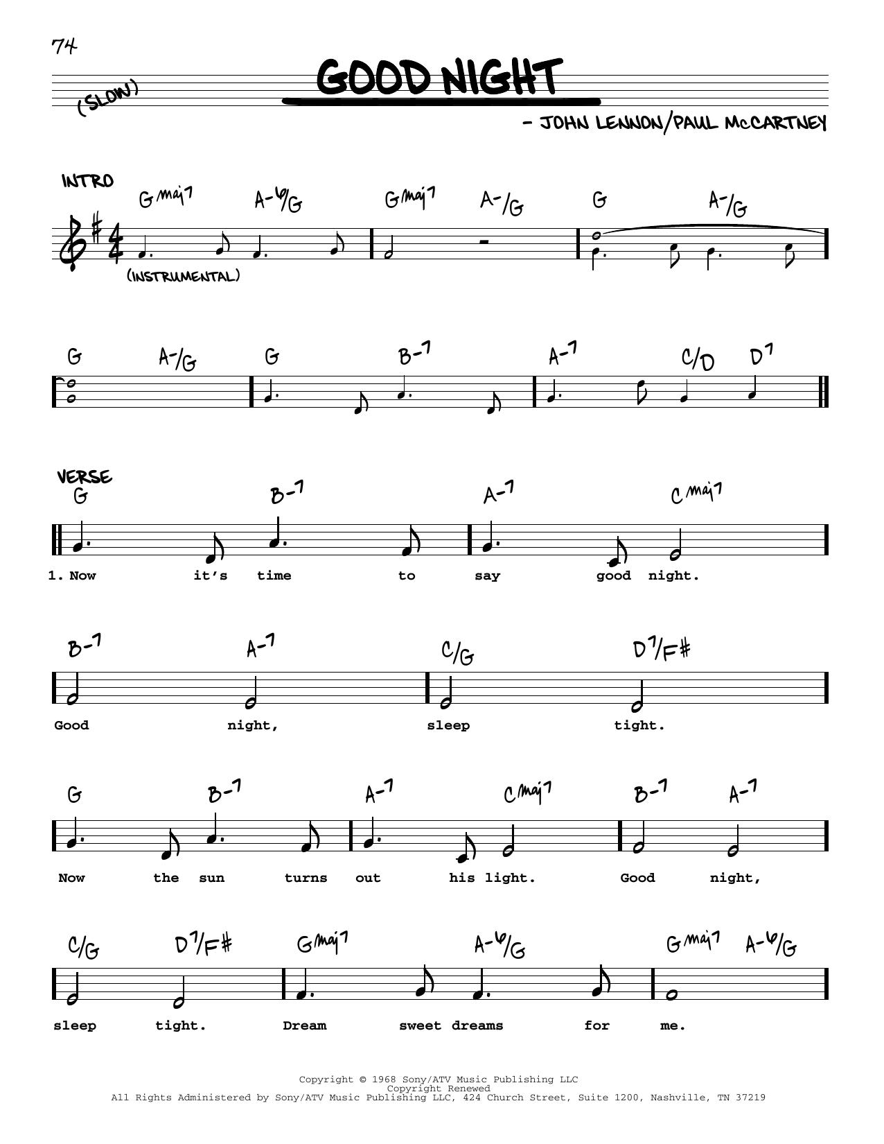 Good Night [Jazz version] (Real Book – Melody, Lyrics & Chords)