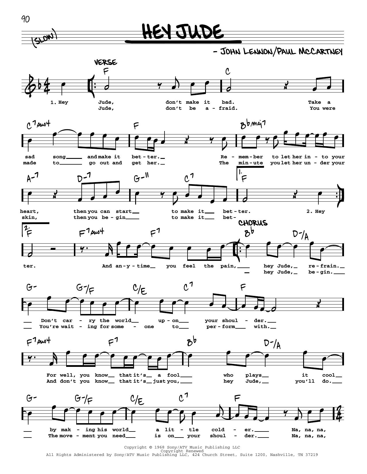 Hey Jude [Jazz version] (Real Book – Melody, Lyrics & Chords)