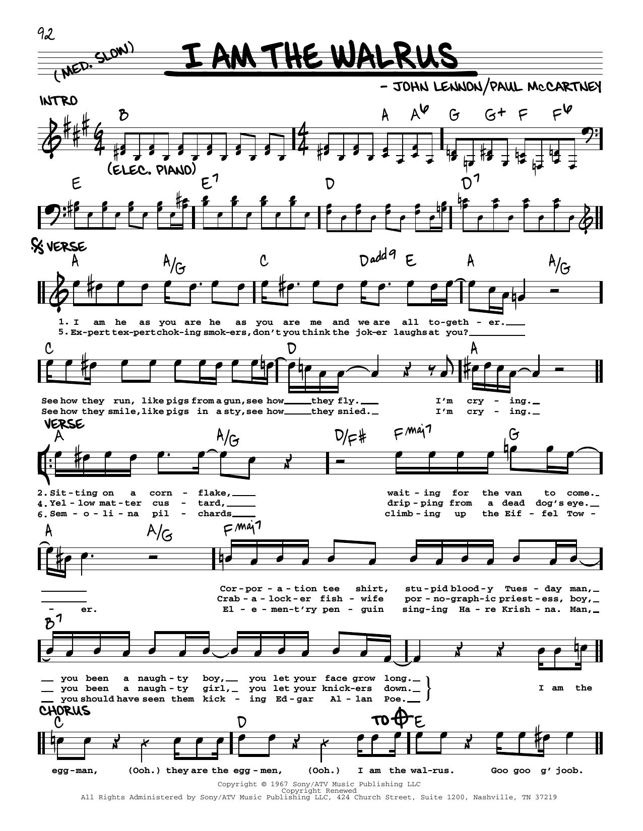 I Am The Walrus [Jazz version] (Real Book – Melody, Lyrics & Chords)