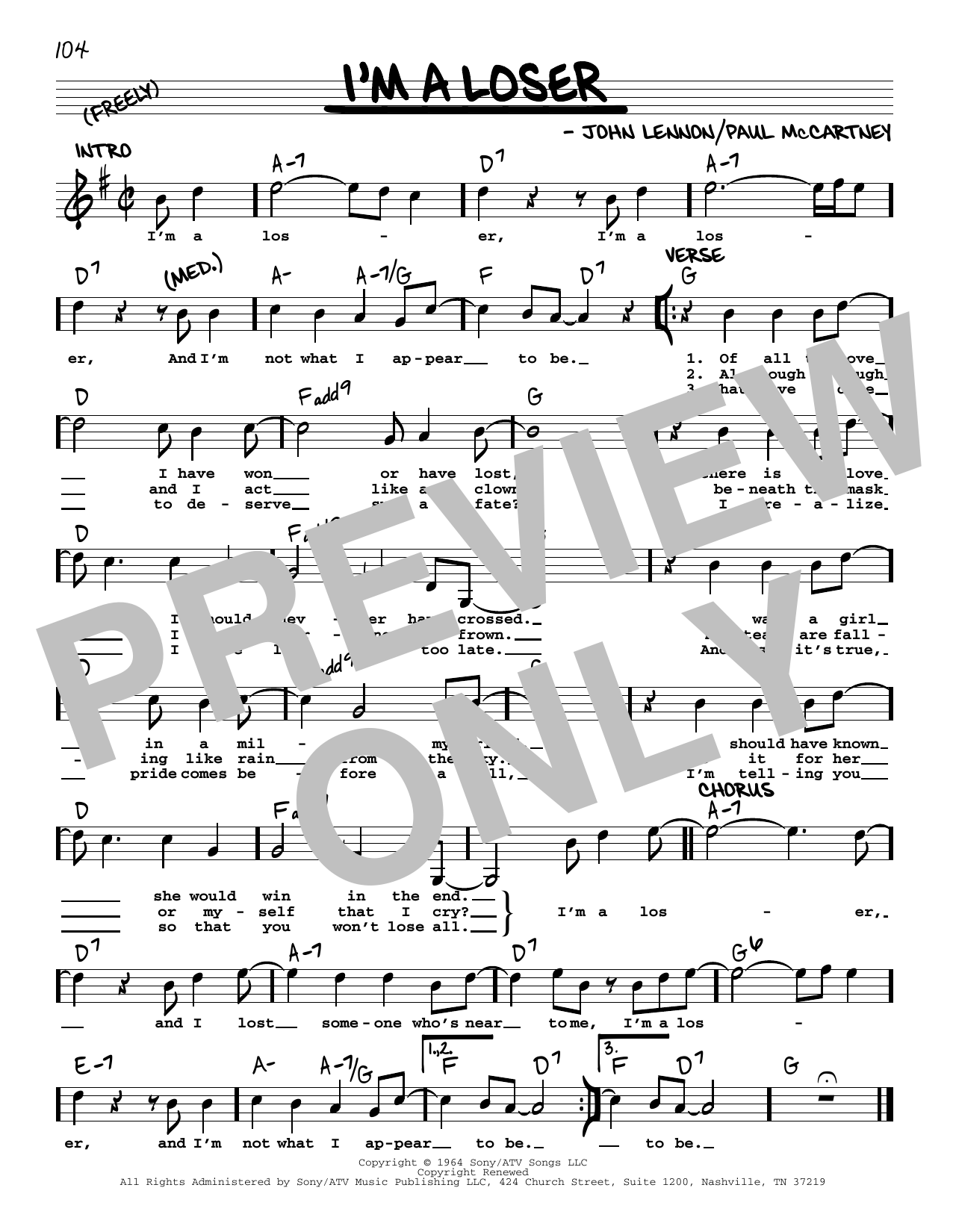 I'm A Loser [Jazz version] (Real Book – Melody, Lyrics & Chords)