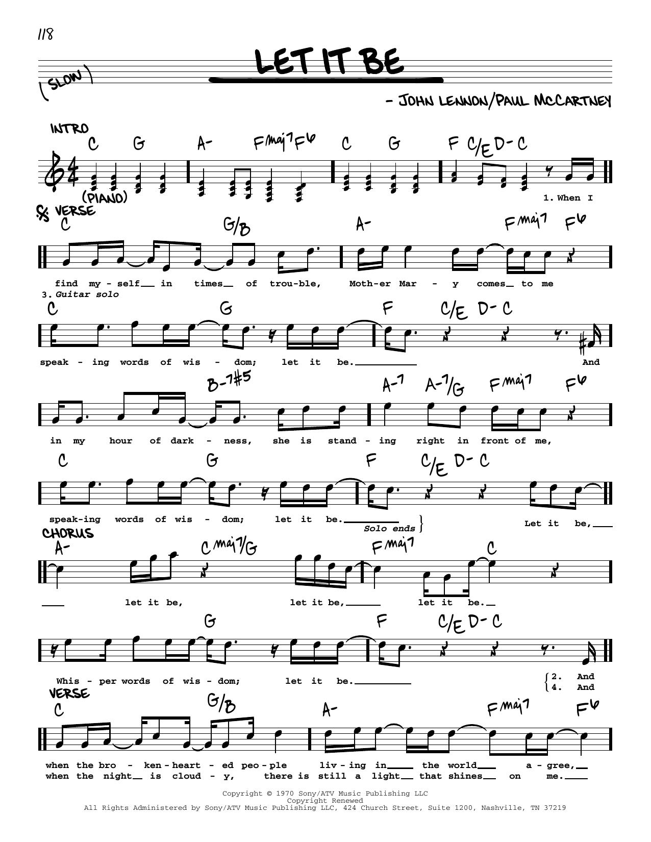 Let It Be [Jazz version] (Real Book – Melody, Lyrics & Chords)