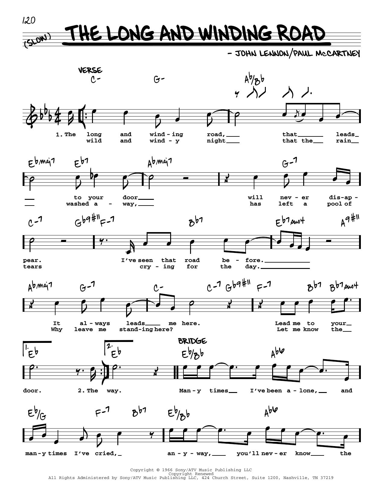 The Long And Winding Road [Jazz version] (Real Book – Melody, Lyrics & Chords)
