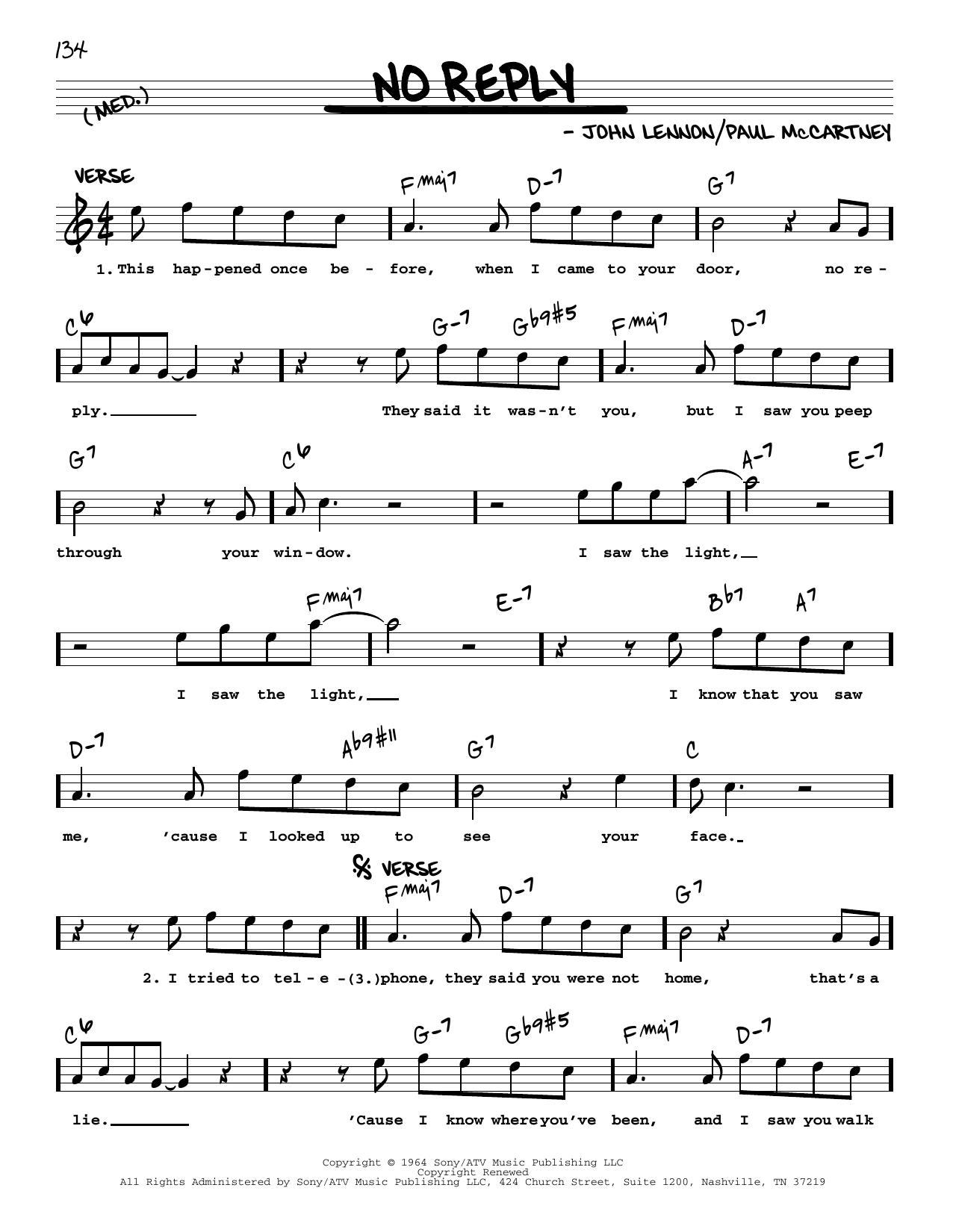 No Reply [Jazz version] (Real Book – Melody, Lyrics & Chords)