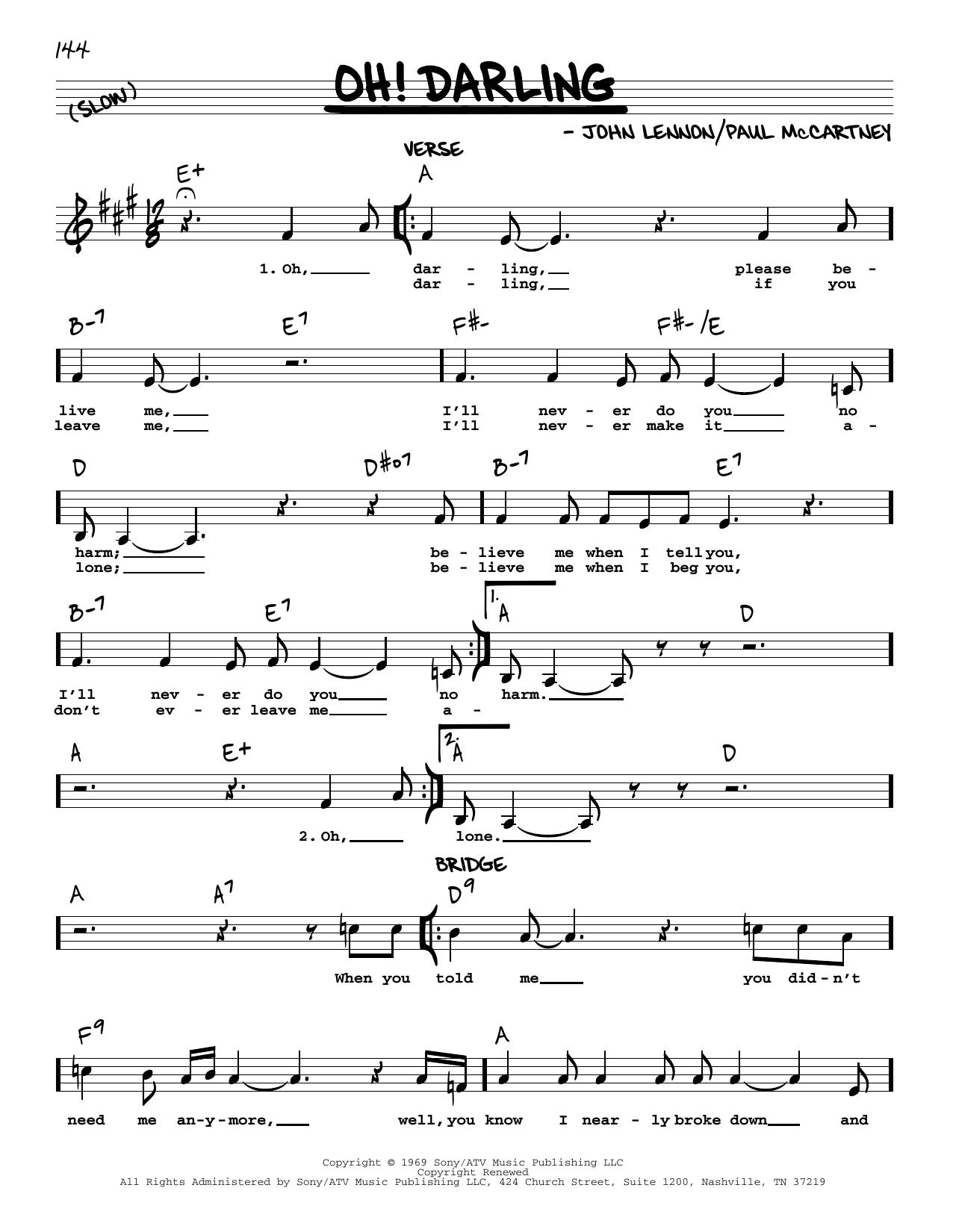 Oh! Darling [Jazz version] (Real Book – Melody, Lyrics & Chords)