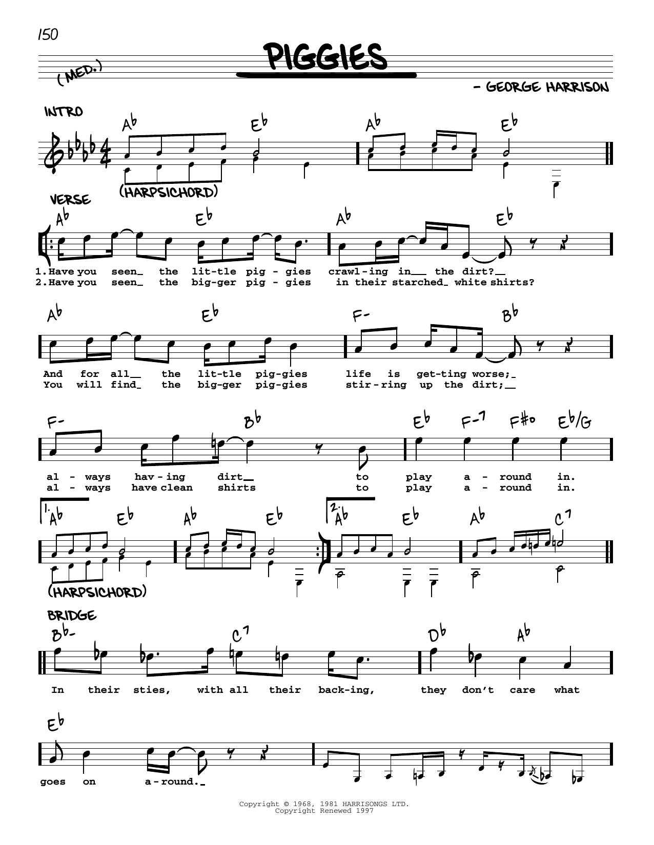 Piggies [Jazz version] (Real Book – Melody, Lyrics & Chords)