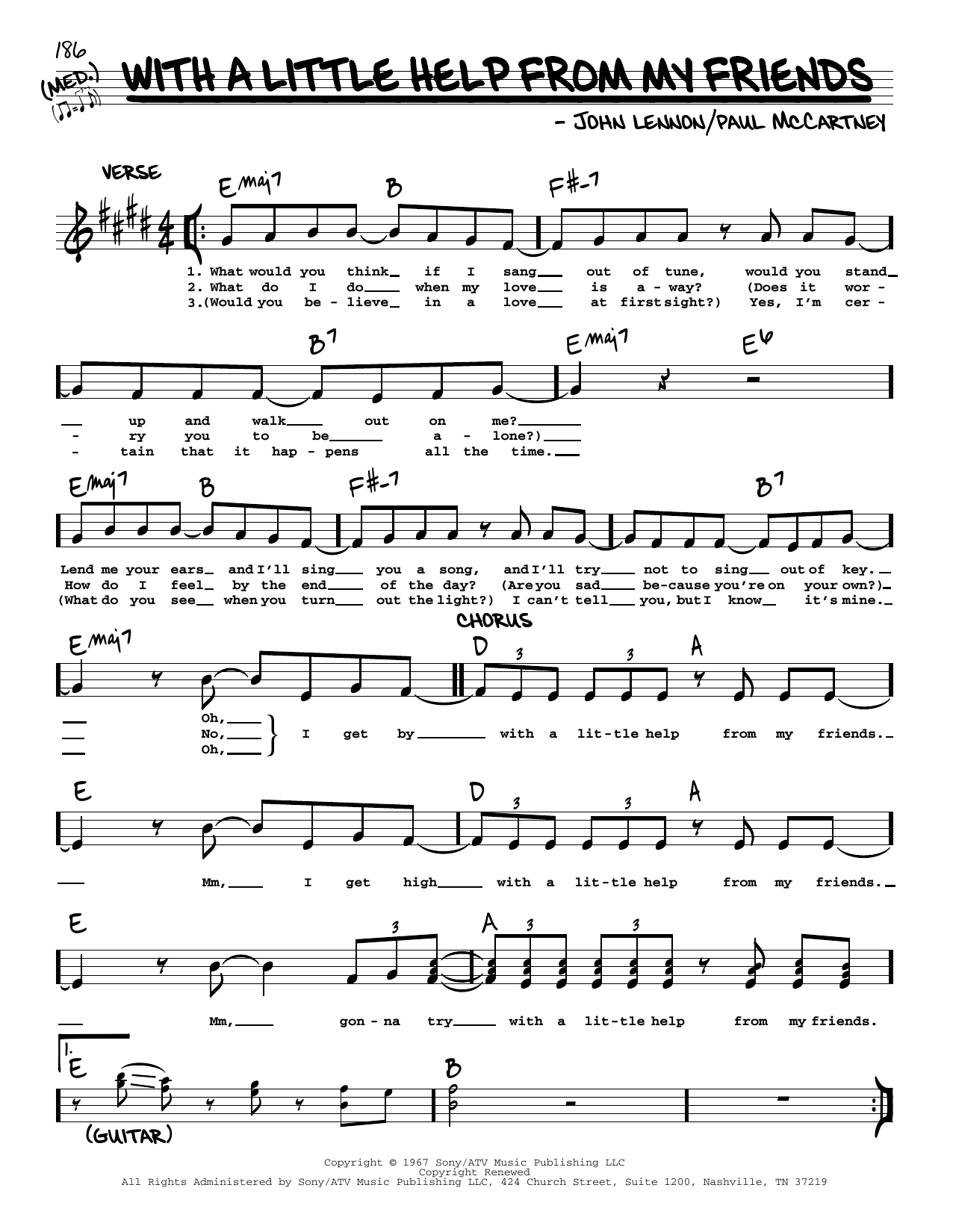 With A Little Help From My Friends [Jazz version] (Real Book – Melody, Lyrics & Chords)