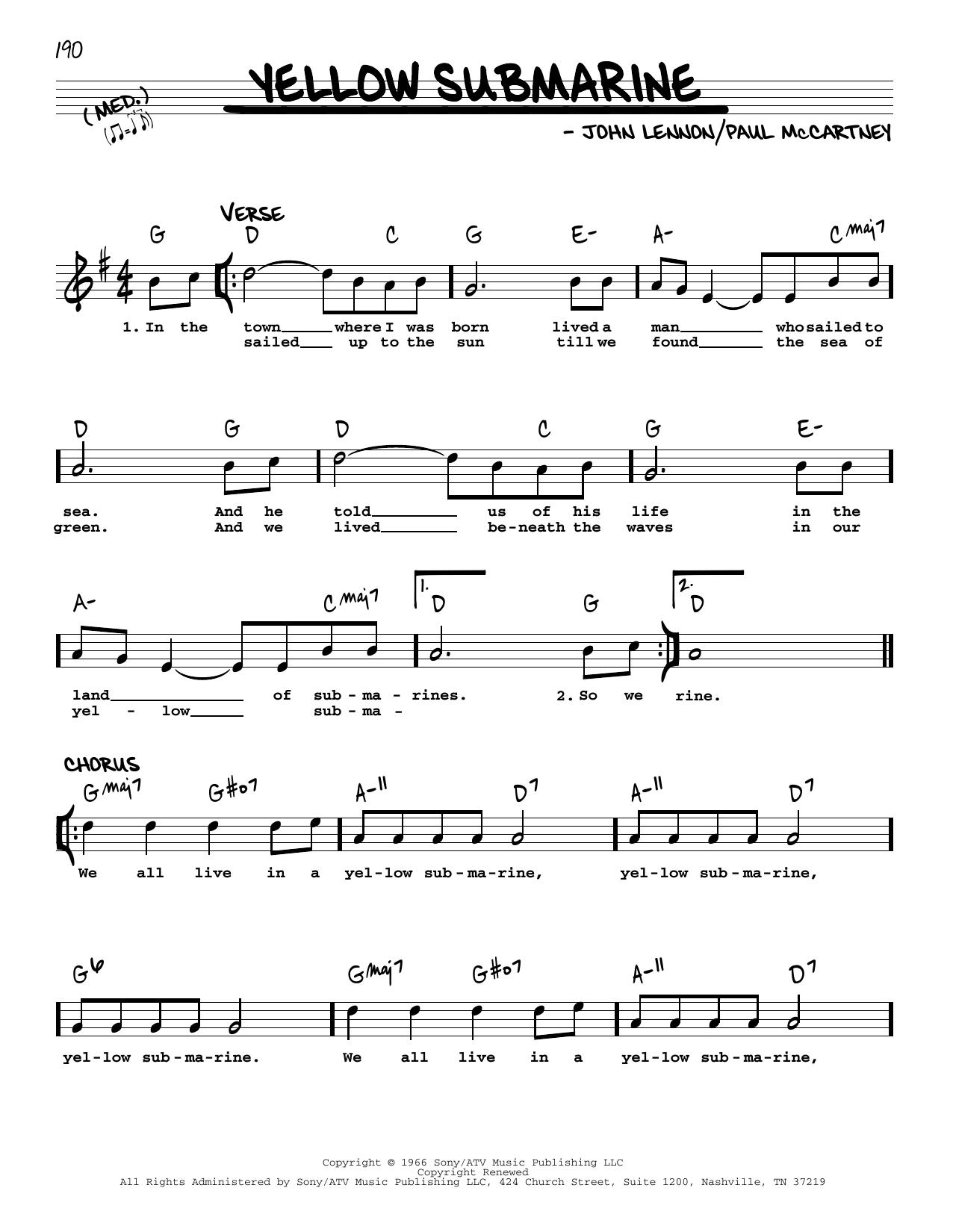 Yellow Submarine [Jazz version] (Real Book – Melody, Lyrics & Chords)