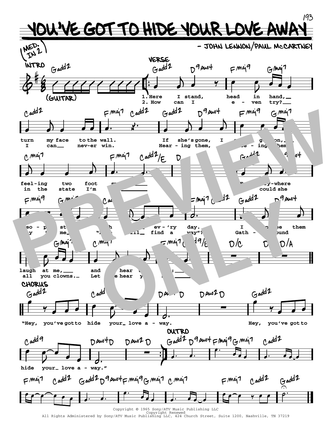 You've Got To Hide Your Love Away [Jazz version] (Real Book – Melody, Lyrics & Chords)