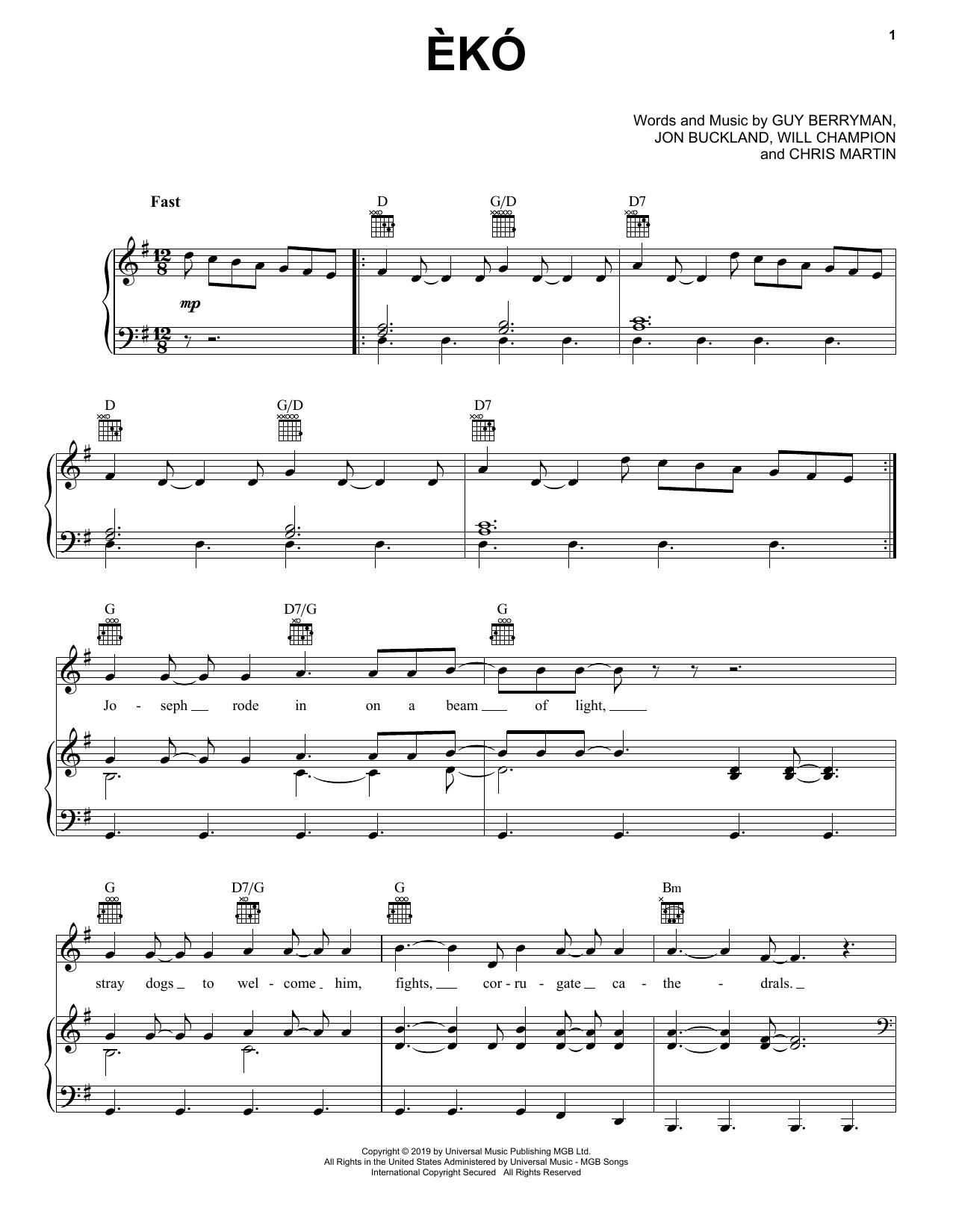 Eko (Piano, Vocal & Guitar (Right-Hand Melody))