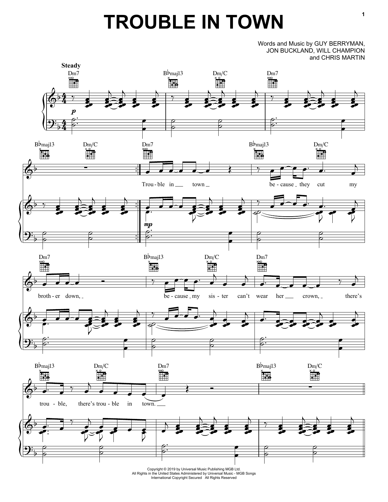 Trouble In Town (Piano, Vocal & Guitar (Right-Hand Melody))