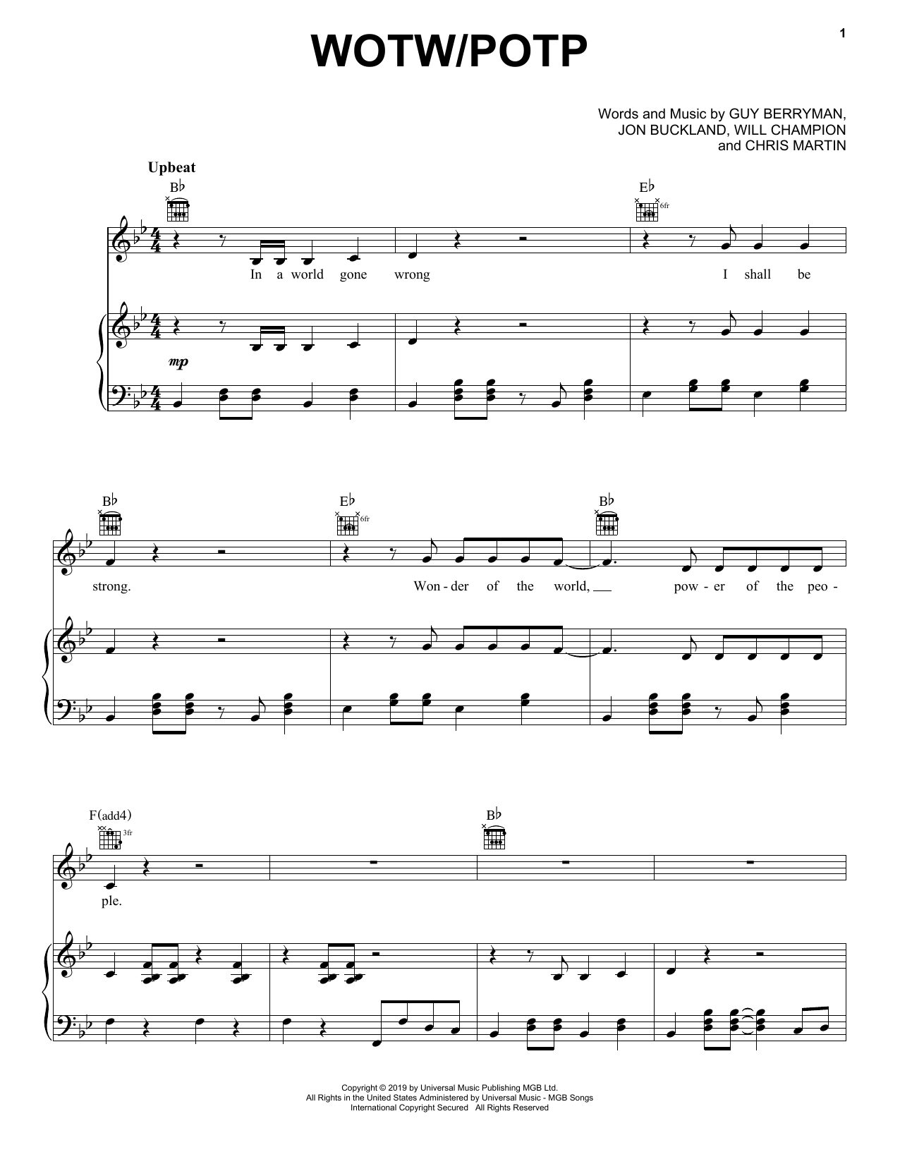 WOTW / POTP (Piano, Vocal & Guitar (Right-Hand Melody))