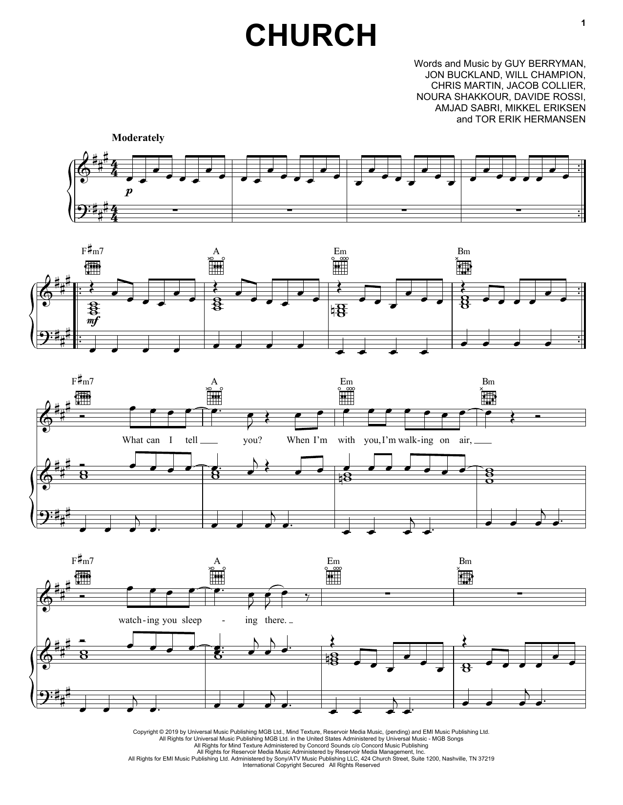 Church (Piano, Vocal & Guitar (Right-Hand Melody))