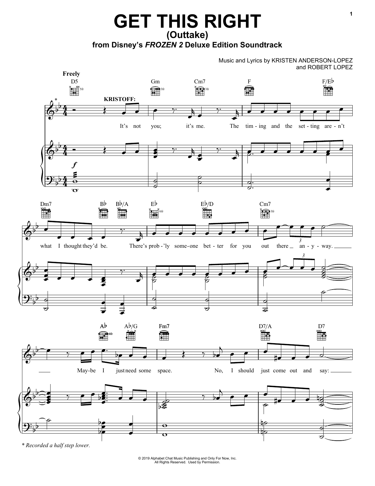 Get This Right - Outtake (from Disney's Frozen 2) (Piano, Vocal & Guitar (Right-Hand Melody))