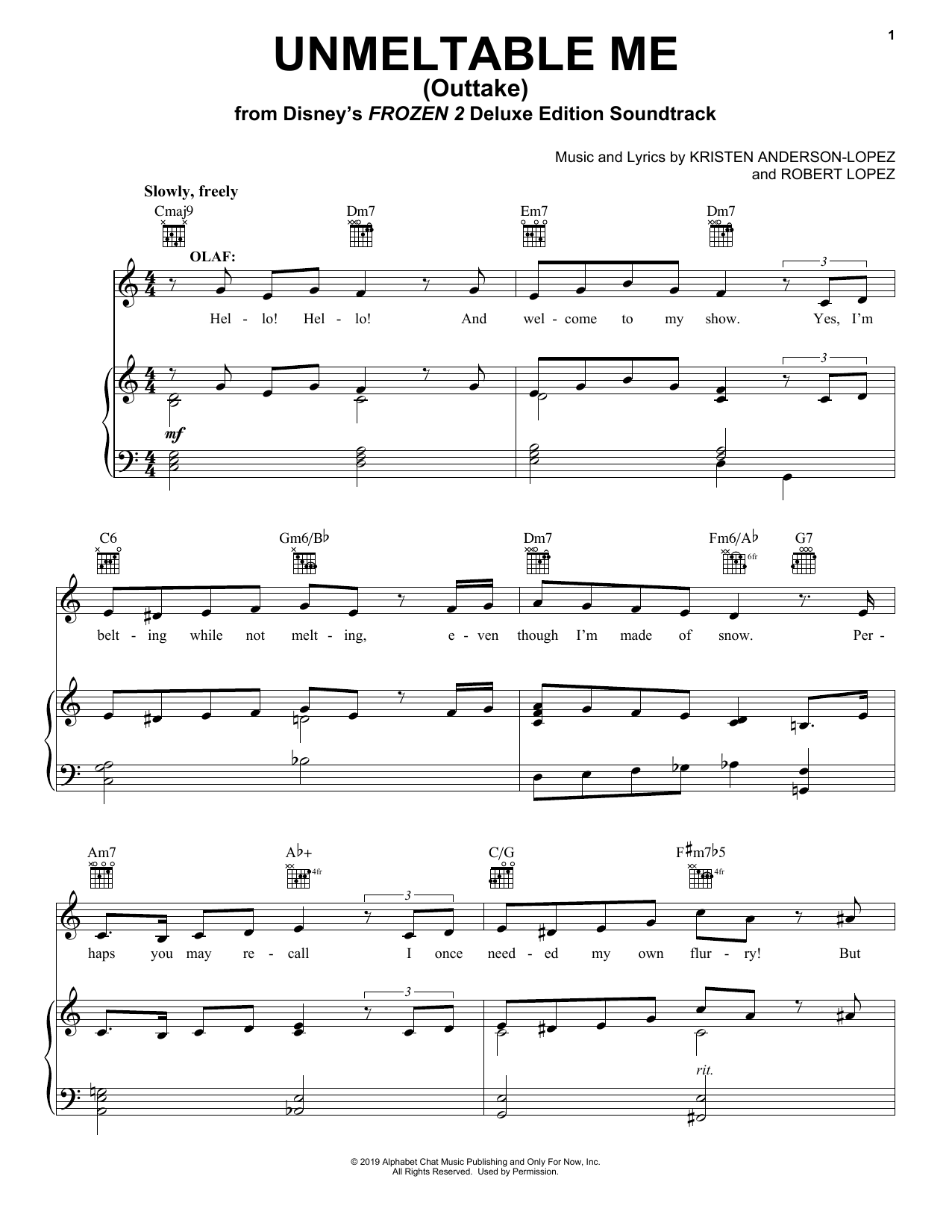Unmeltable Me - Outtake (from Disney's Frozen 2) (Piano, Vocal & Guitar (Right-Hand Melody))