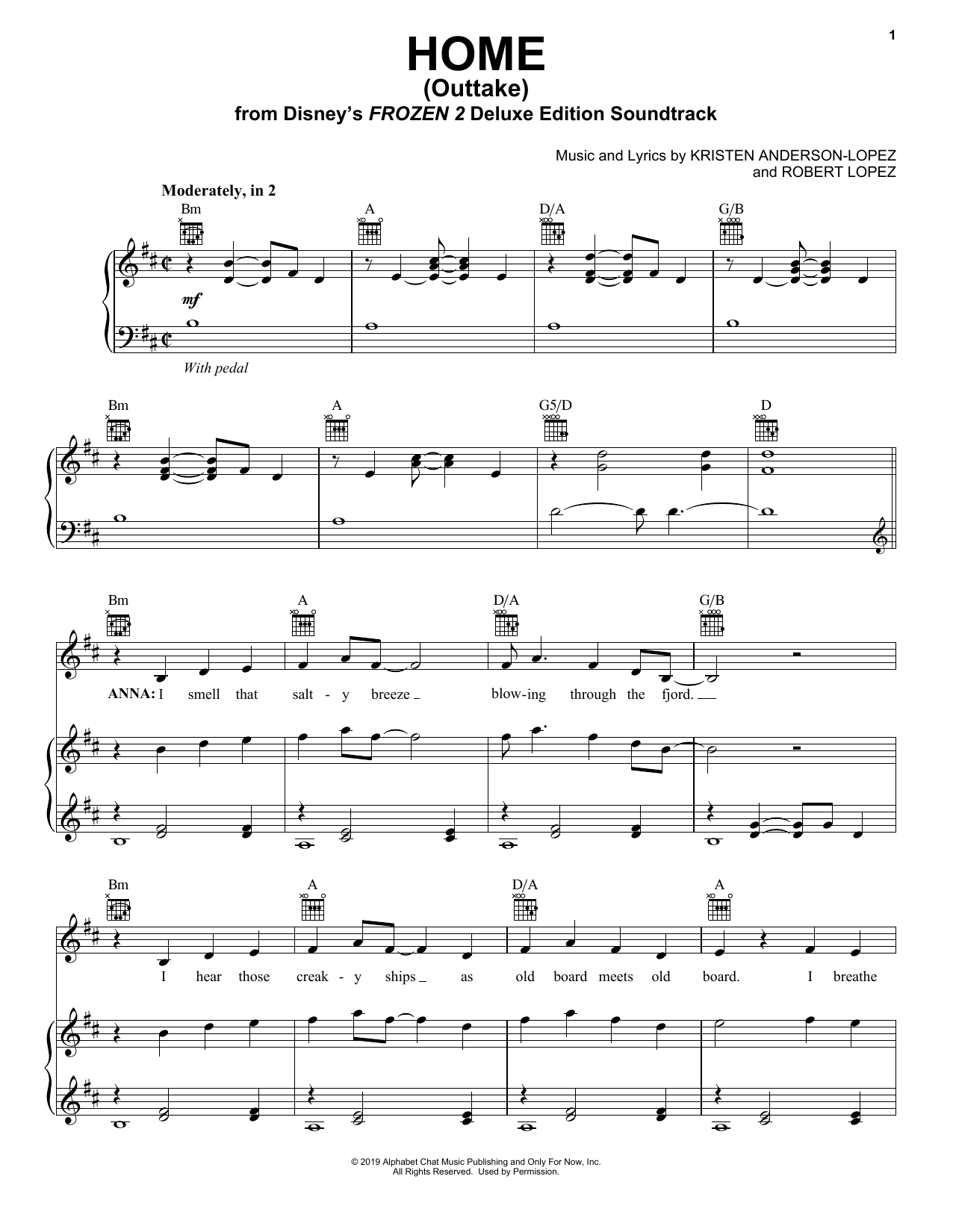 Home - Outtake (from Disney's Frozen 2) (Piano, Vocal & Guitar (Right-Hand Melody))
