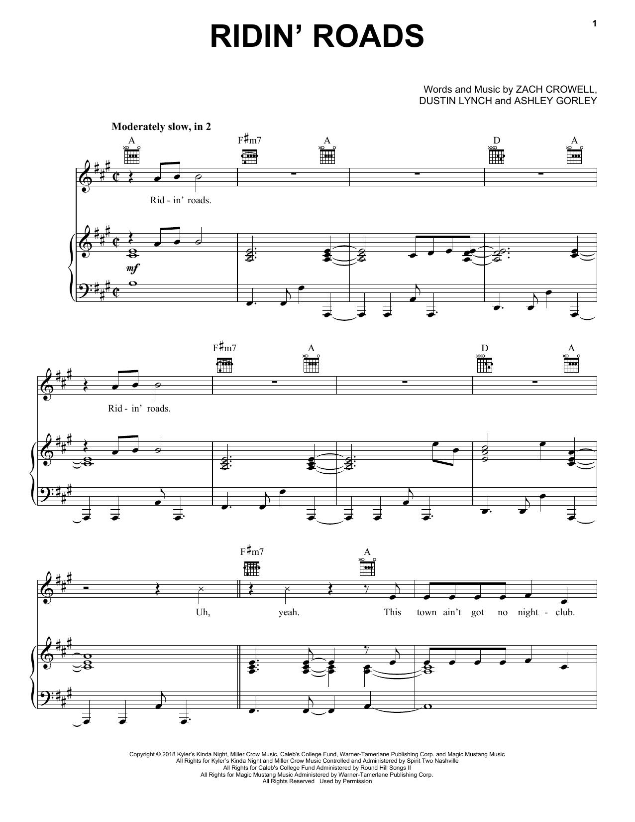 Ridin' Roads (Piano, Vocal & Guitar (Right-Hand Melody))