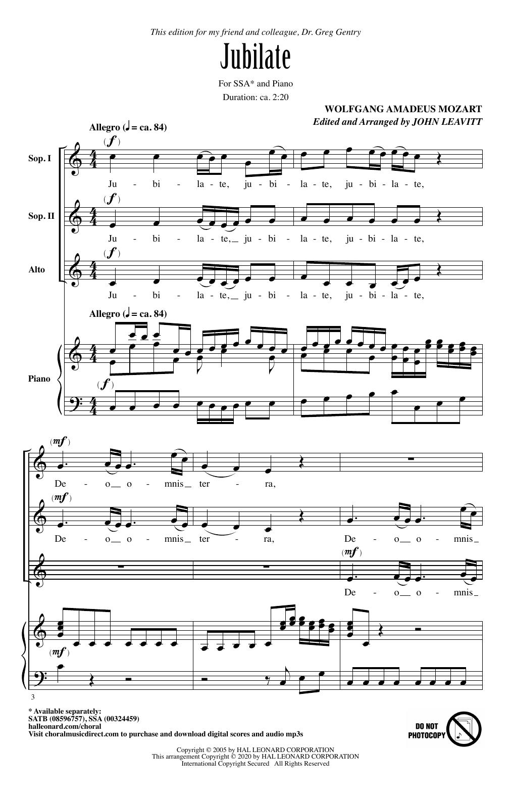 Jubilate (arr. John Leavitt) (SSA Choir)