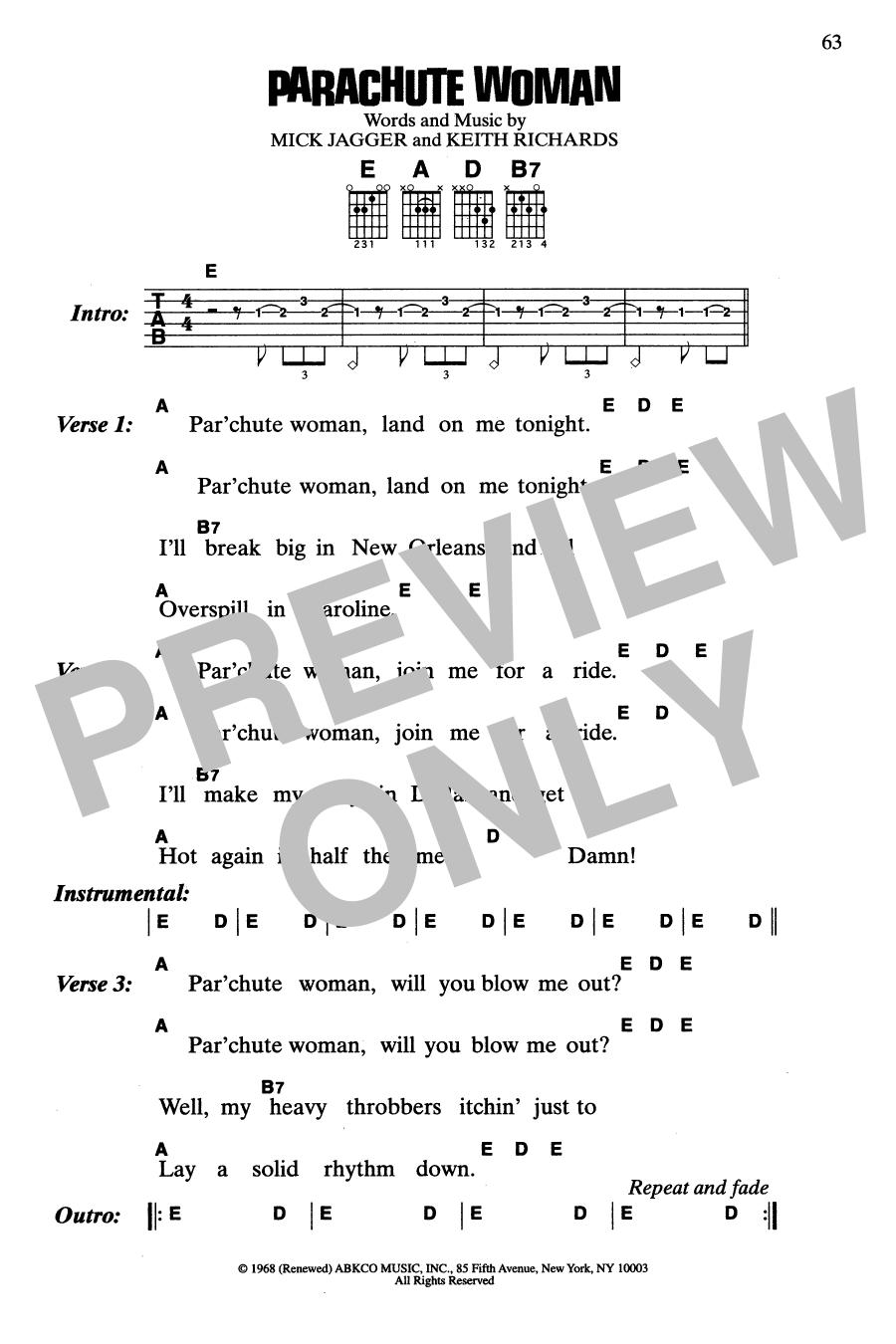 Parachute Woman (Guitar Chords/Lyrics)