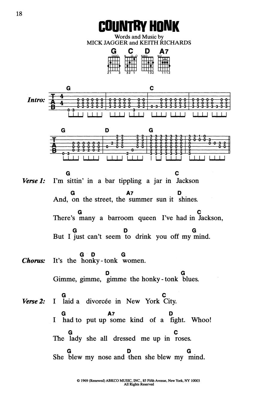 Country Honk (Guitar Chords/Lyrics)