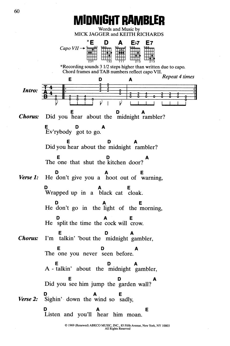 Midnight Rambler (Guitar Chords/Lyrics)