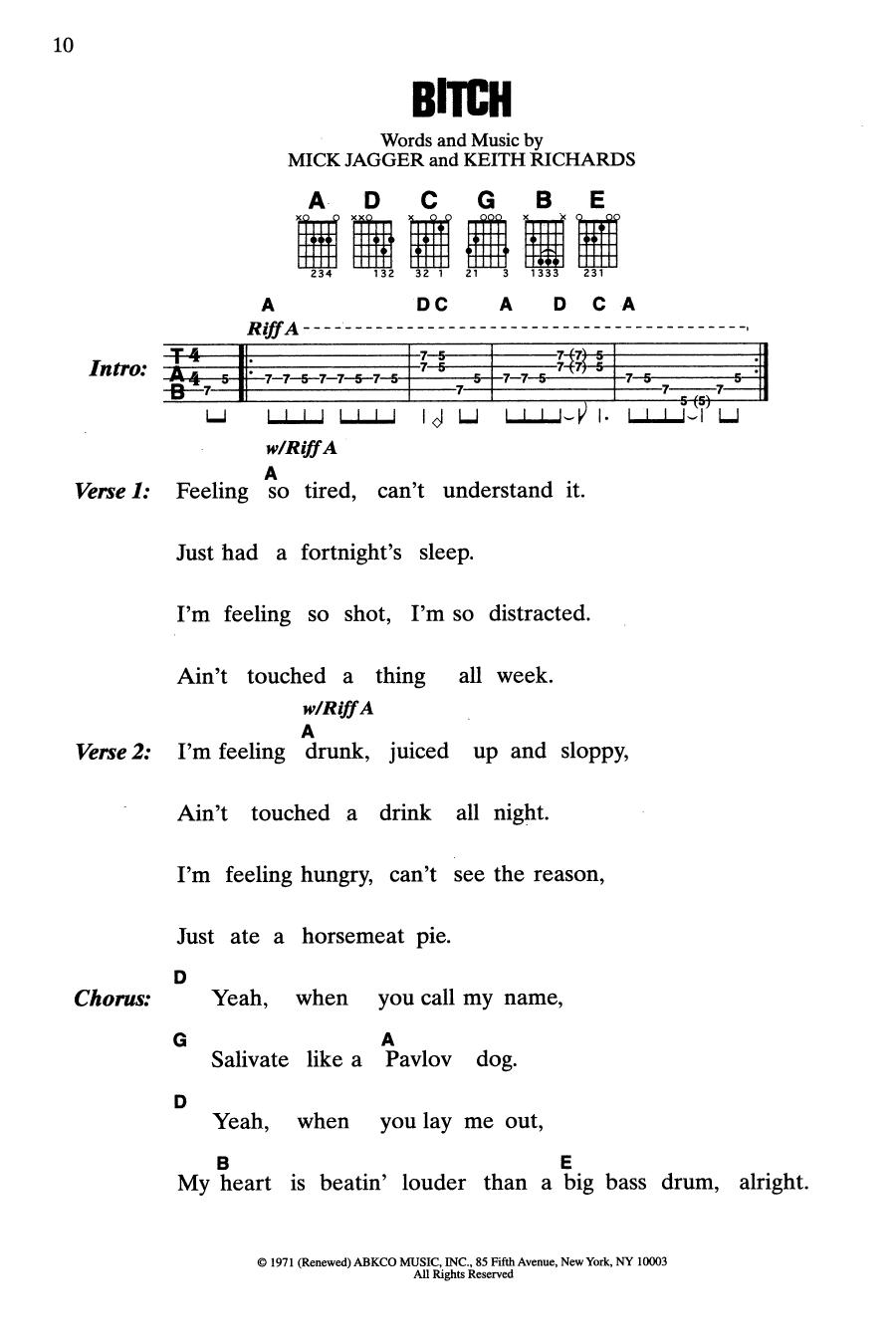 Bitch (Guitar Chords/Lyrics)
