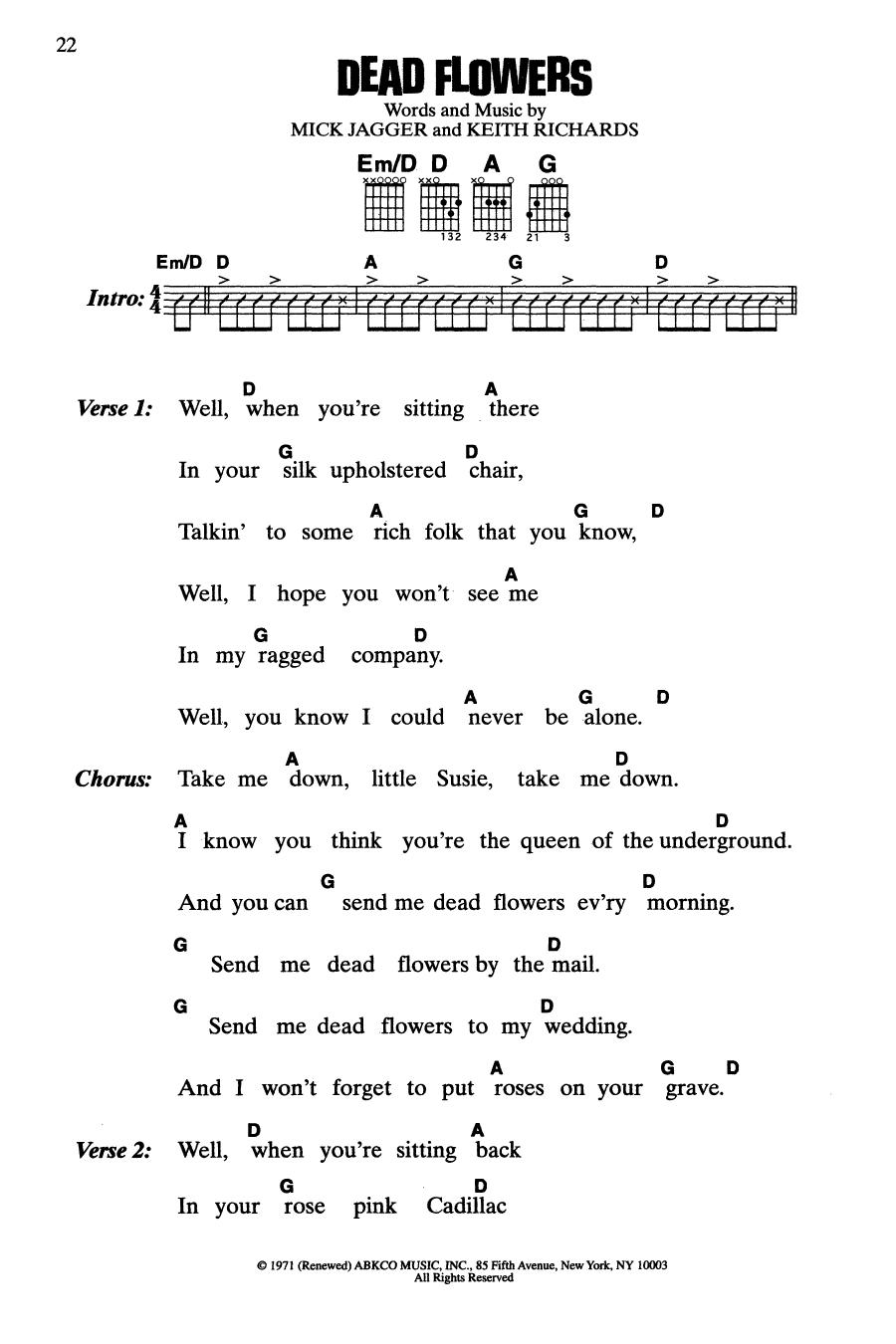Dead Flowers (Guitar Chords/Lyrics)