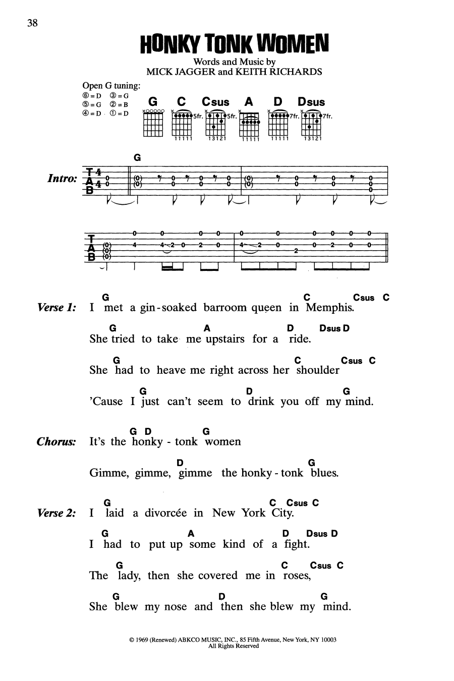 Honky Tonk Women (Guitar Chords/Lyrics)
