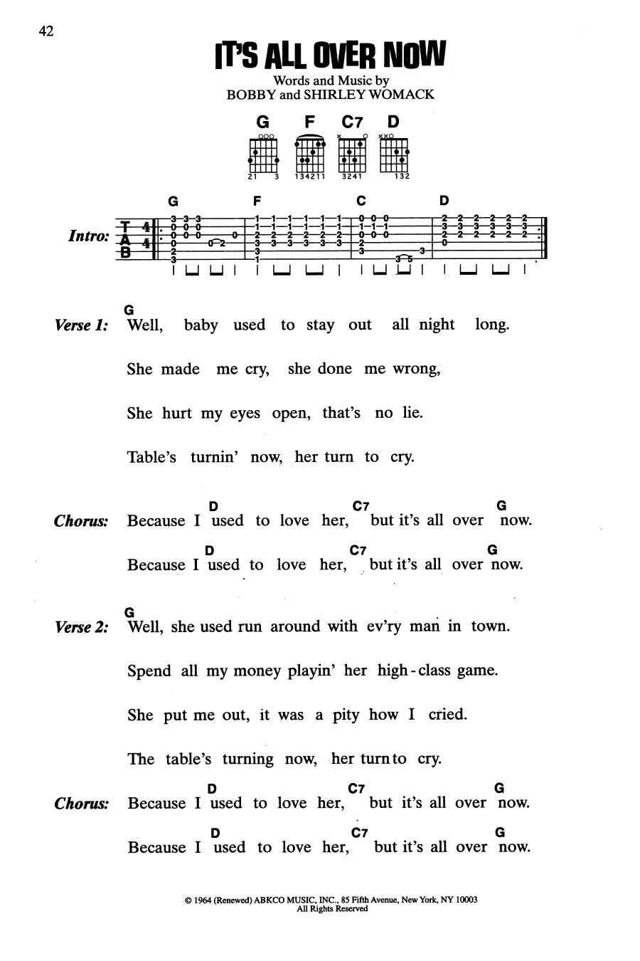 It's All Over Now (Guitar Chords/Lyrics)