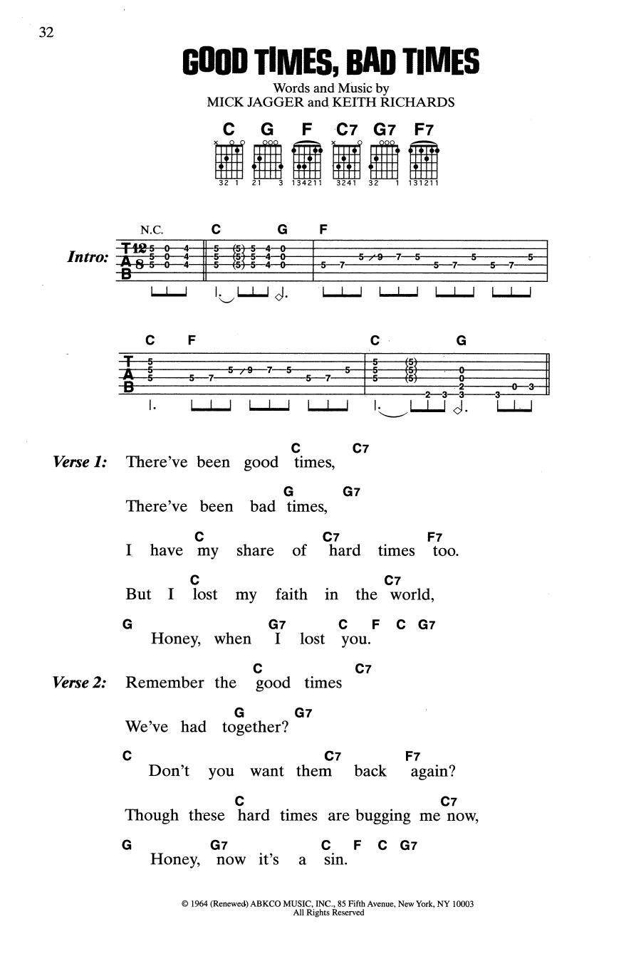 Good Times, Bad Times (Guitar Chords/Lyrics)