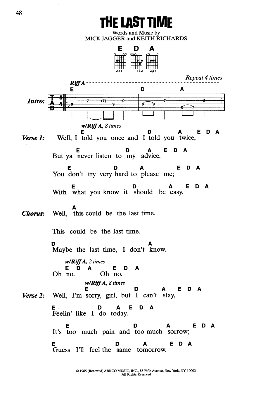 Time after time chords