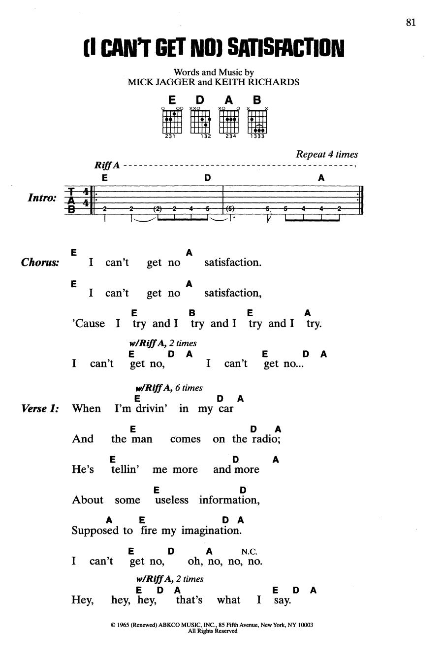 (I Can't Get No) Satisfaction (Guitar Chords/Lyrics)