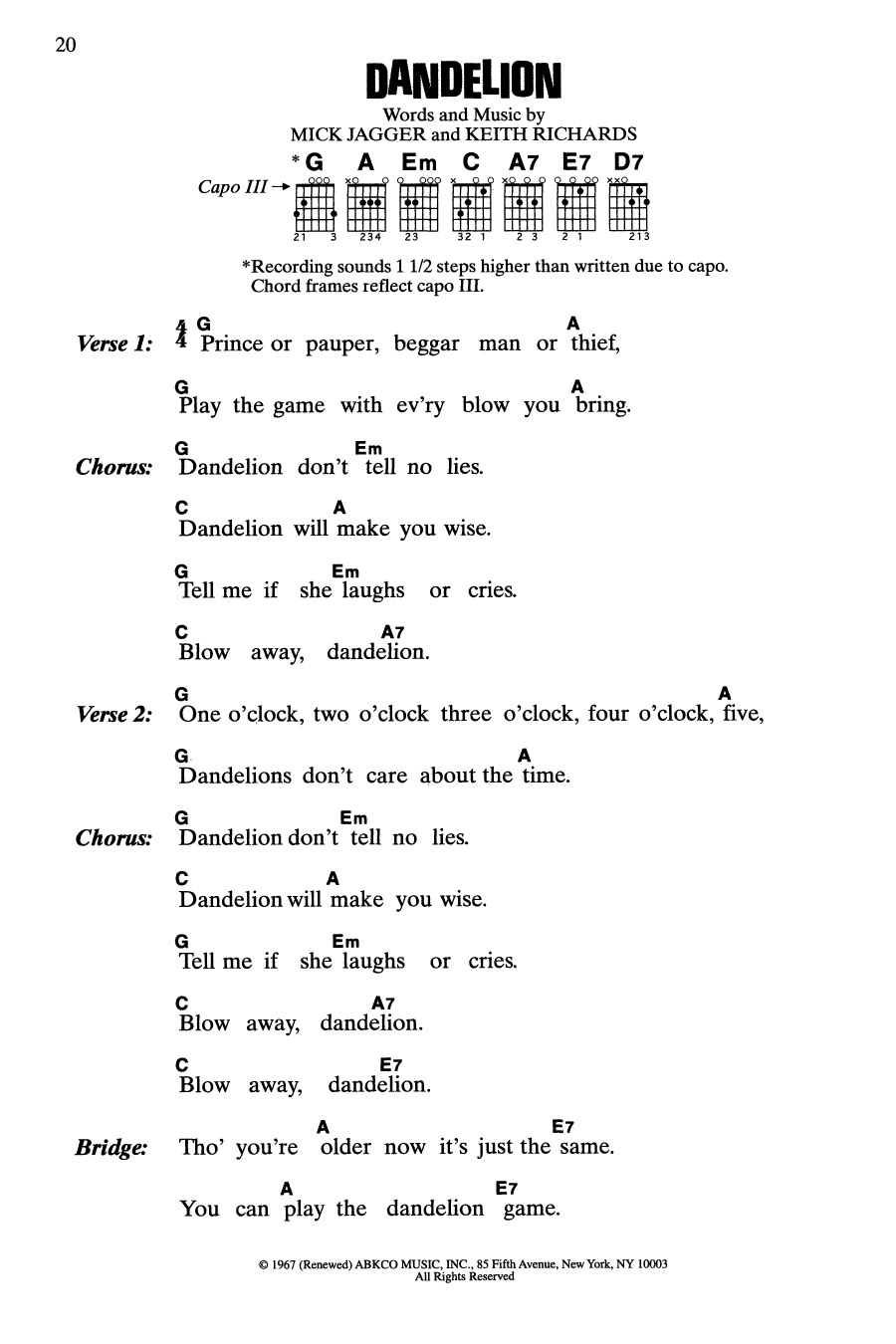Dandelion (Guitar Chords/Lyrics)