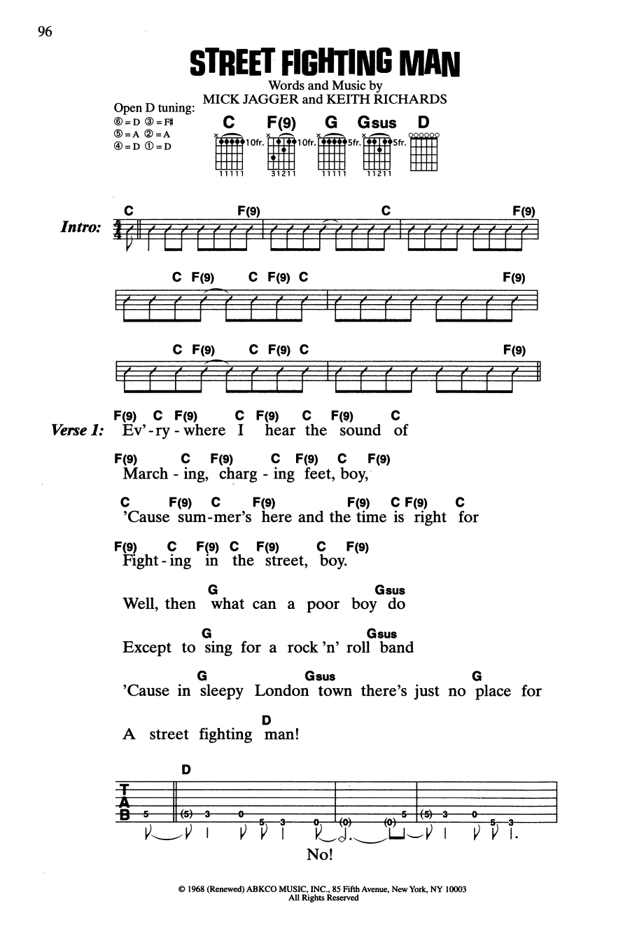 Street Fighting Man (Guitar Chords/Lyrics)