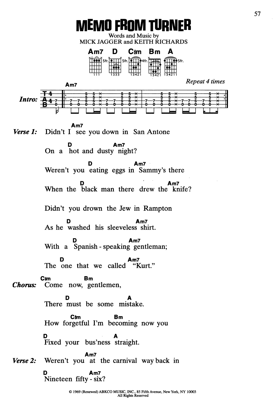 Memo From Turner (from Performance) (Guitar Chords/Lyrics)
