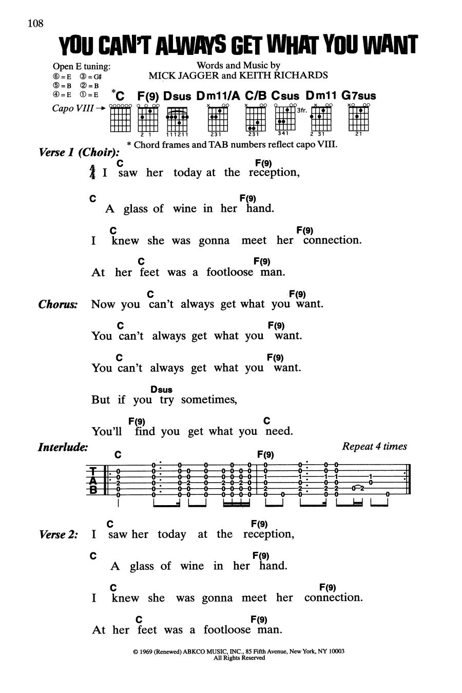 You Can't Always Get What You Want (Guitar Chords/Lyrics)