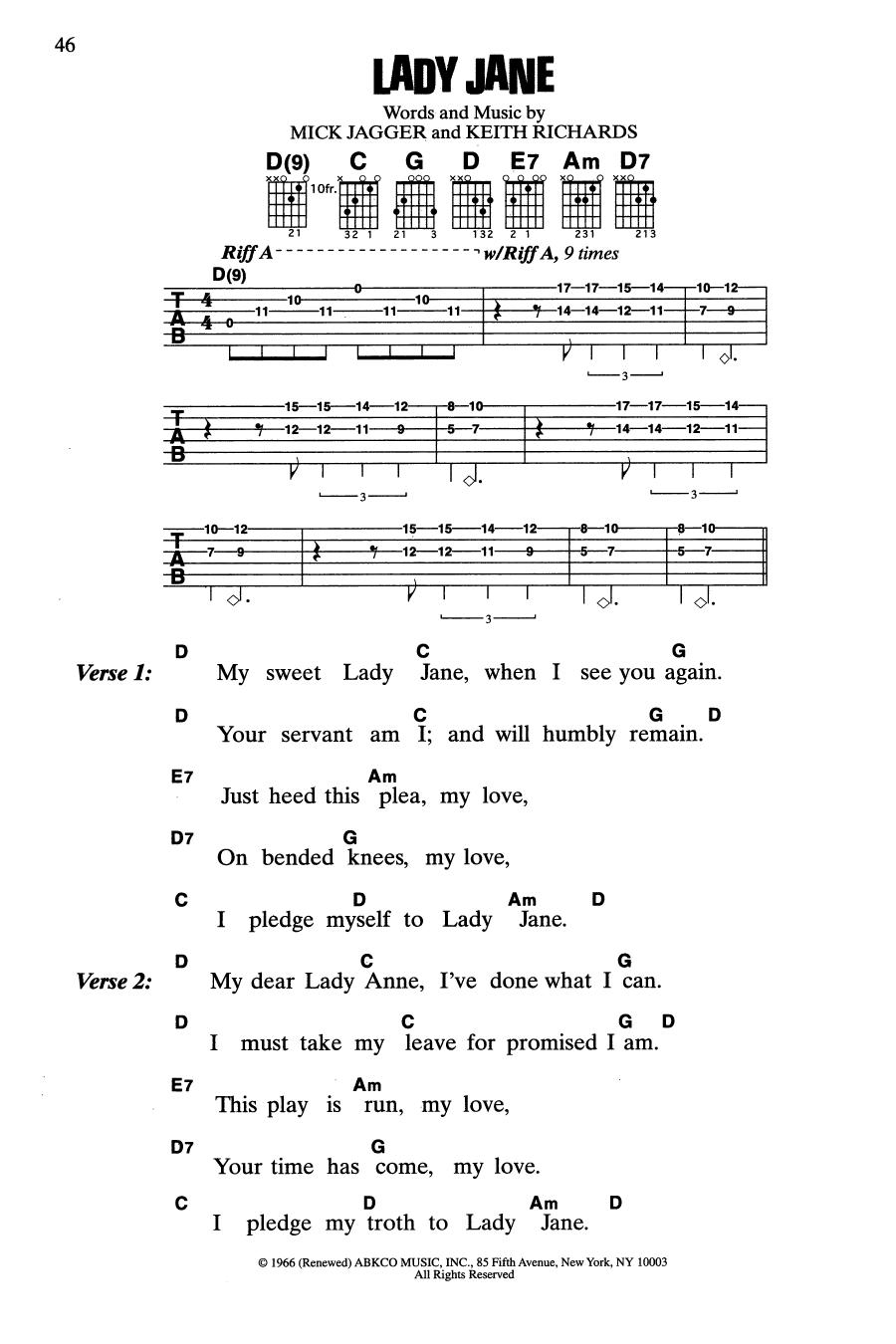 Lady Jane (Guitar Chords/Lyrics)