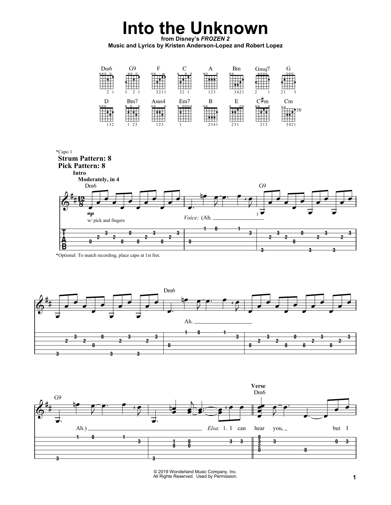 Into The Unknown (from Disney's Frozen 2) (Easy Guitar Tab)